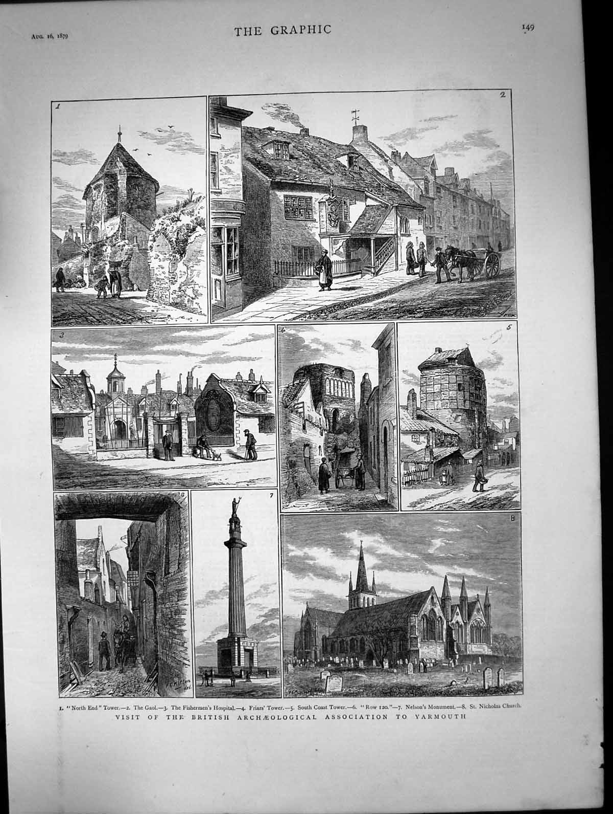 [Print 1879 Yarmouth Gaol Fishermen'S Hospital Friars Tower Nelson'S Mon 659J681 Old Original]