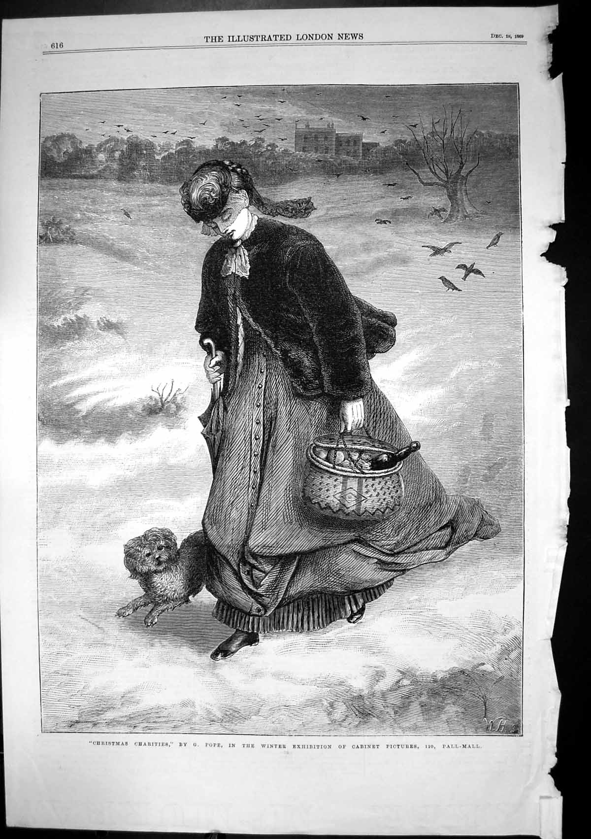 [Print Christmas Charities G Pope Lady Dog Delivering Food 1869 158J683 Old Original]
