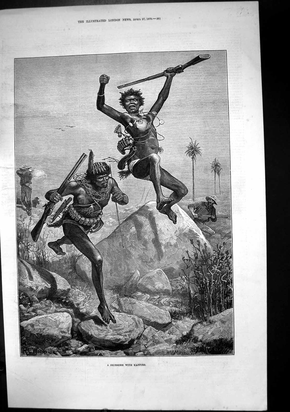 [Print Skirmish Kaffirs South Africa Rifles Enemy Shooting 1878 268J683 Old Original]