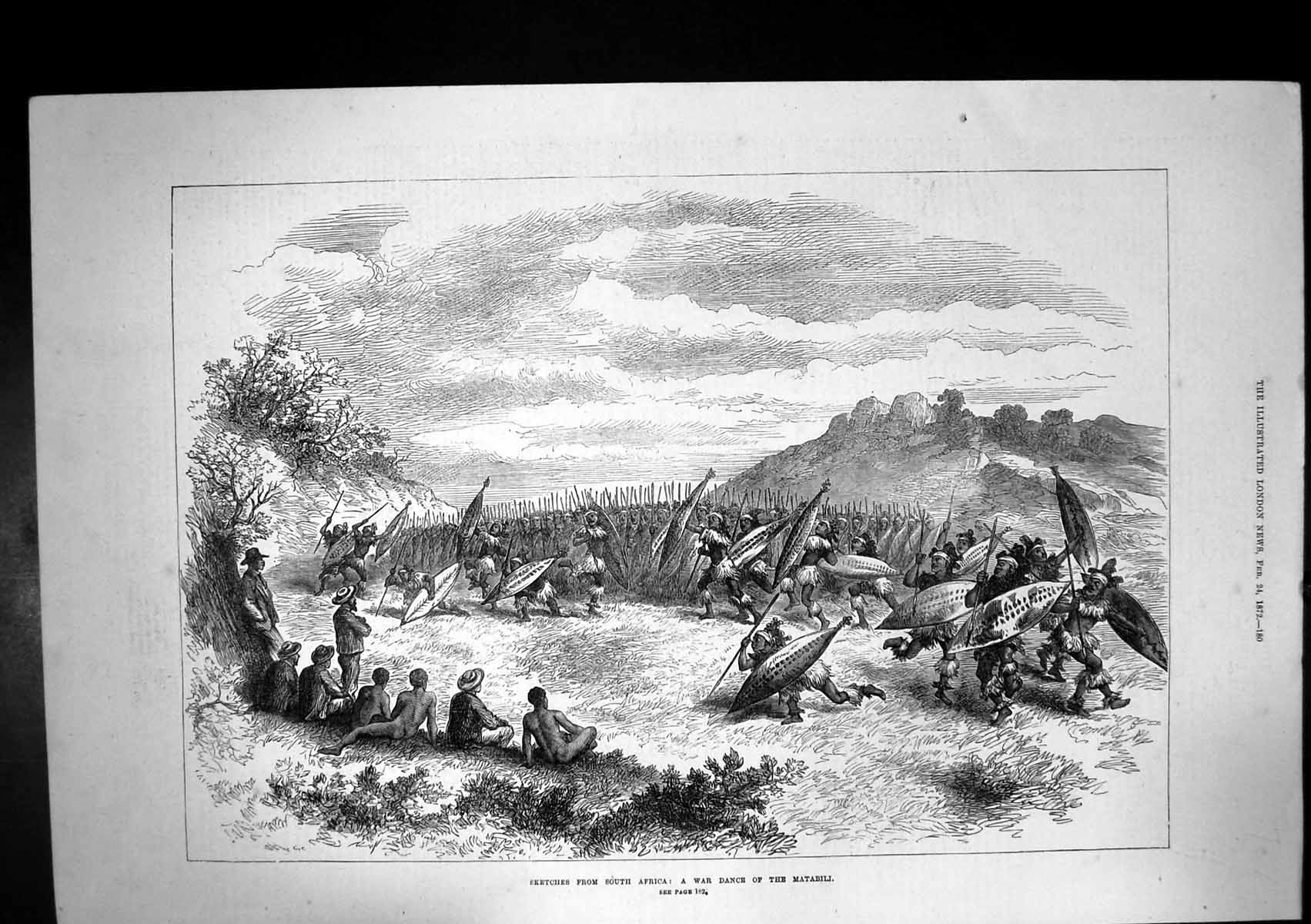 [Print War Dance Matabili Tribe South Africa Spears 1872 273J683 Old Original]