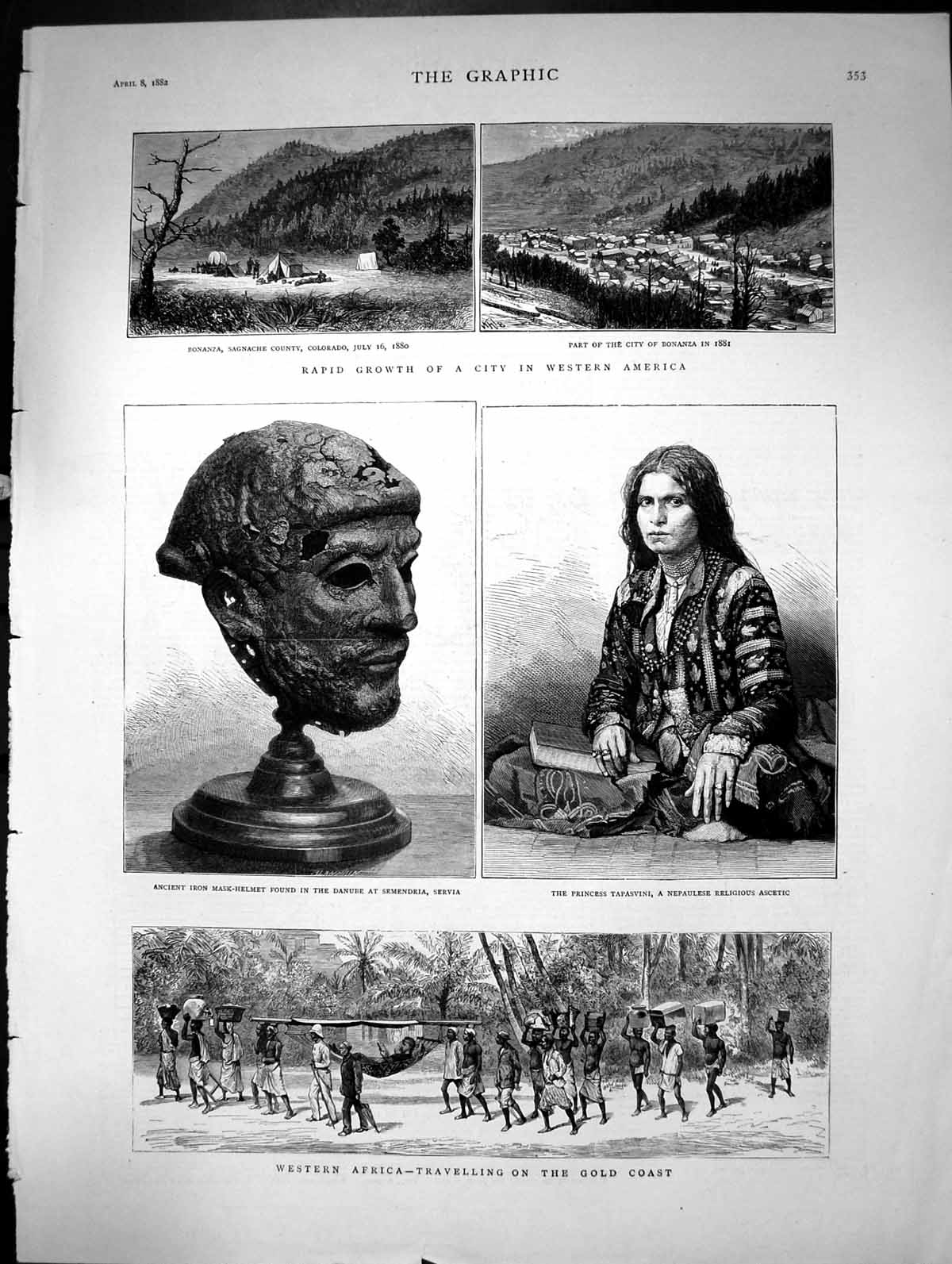 [Print Western Africa Travelling On The Gcoast Colorado Servia 1882 430J684 Old Original]