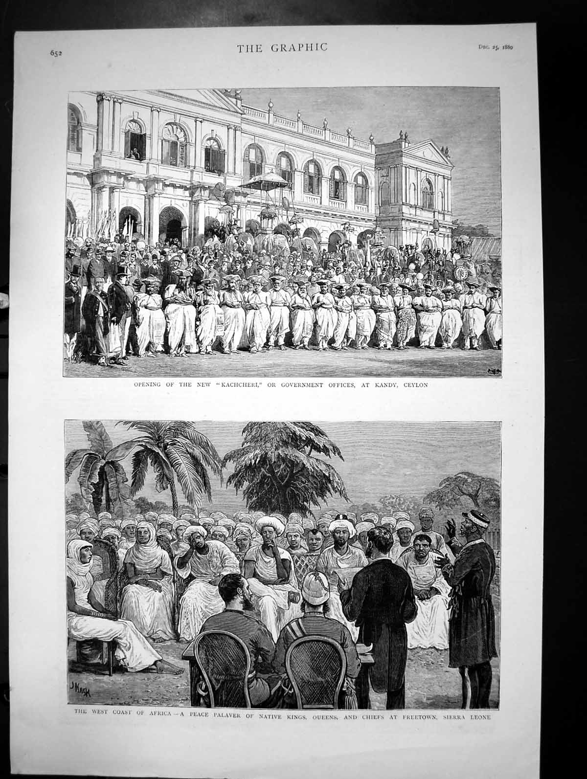 [Print Opening Kachcheri Government Offices Kandy Ceylon Africa 1880 488J684 Old Original]