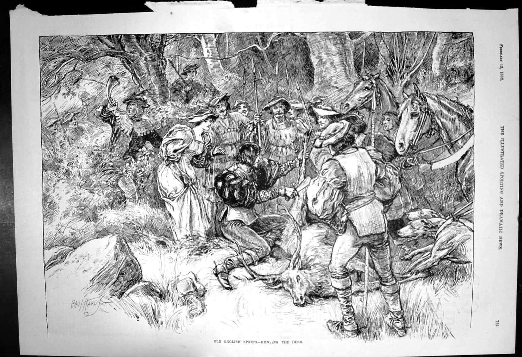 [Print English Sports Hunting Deer Horses Dogs Spears 1892 458J687 Old Original]