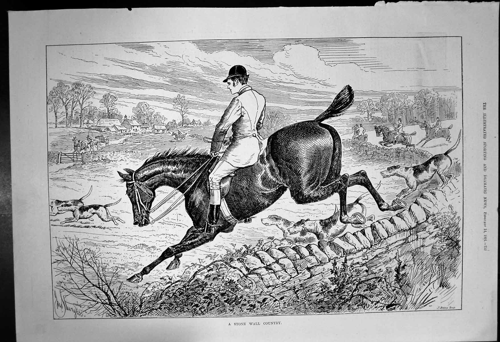 [Print Stone Wall Country Horseriders Jumping Walls Dogs 1891 460J687 Old Original]