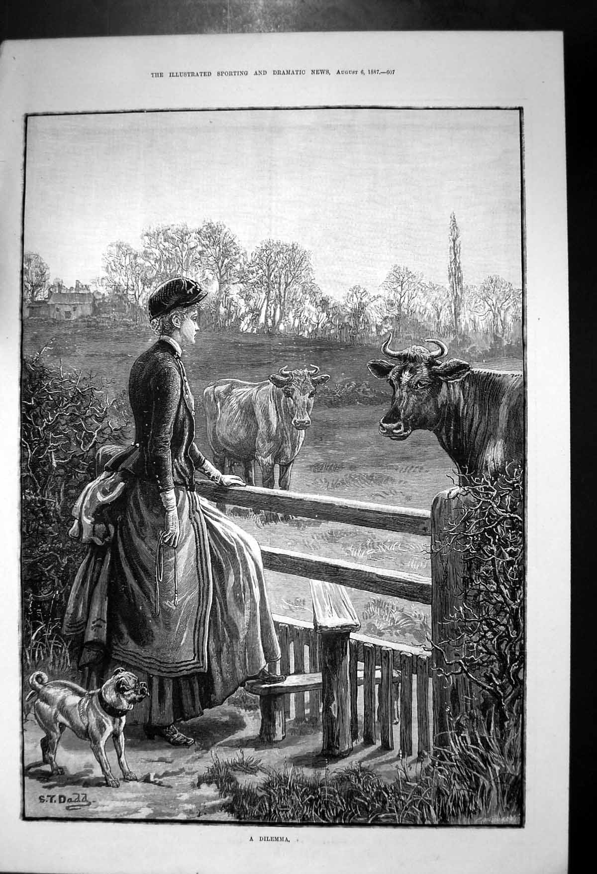 [Print A Dilemma St Dadd Lady Dog Step Fence Cows In Field 1887 568J687 Old Original]