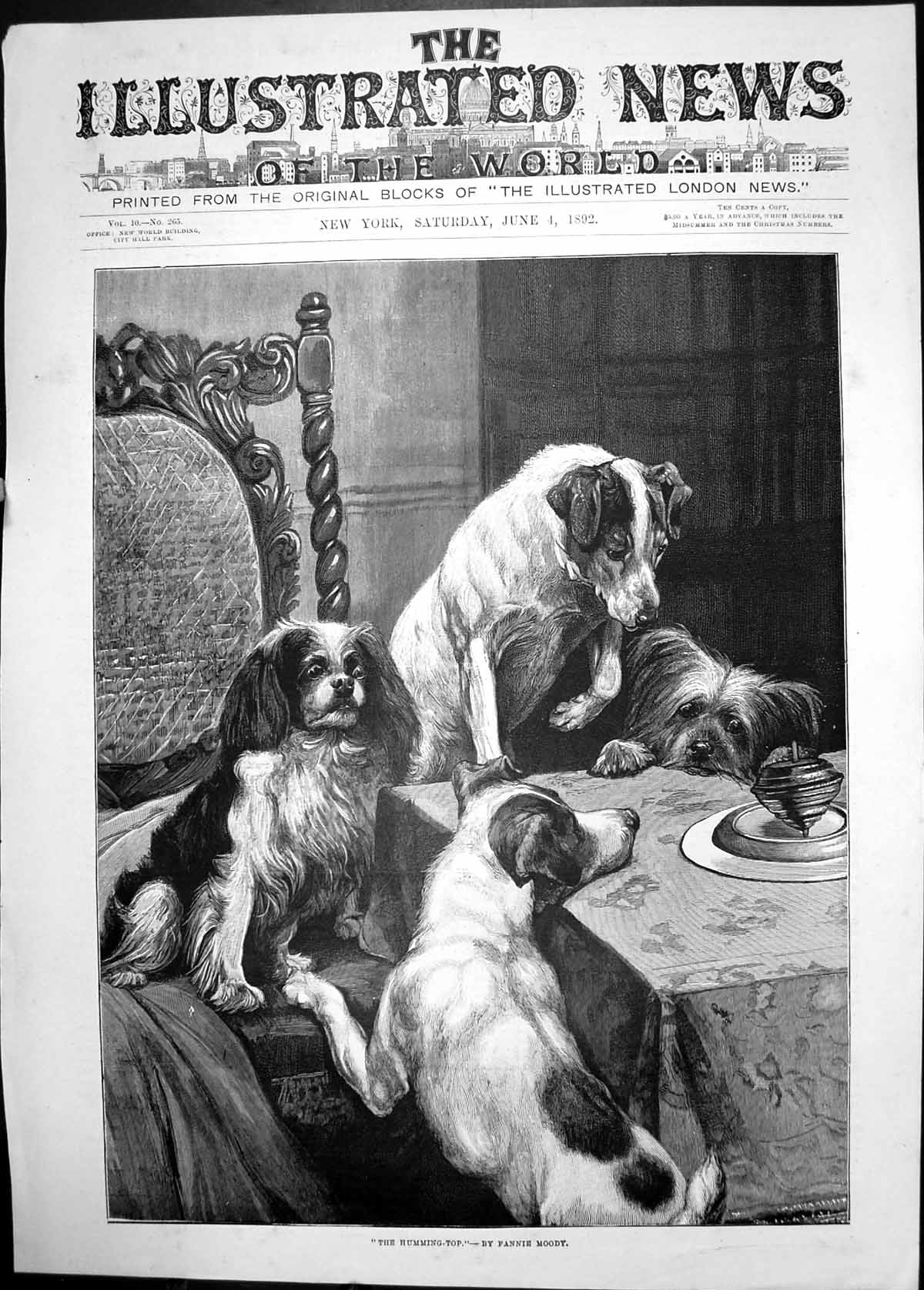 [Print 1892 Humming Top Toy Dogs Dinner Table Fanny Moody 401J690 Old Original]
