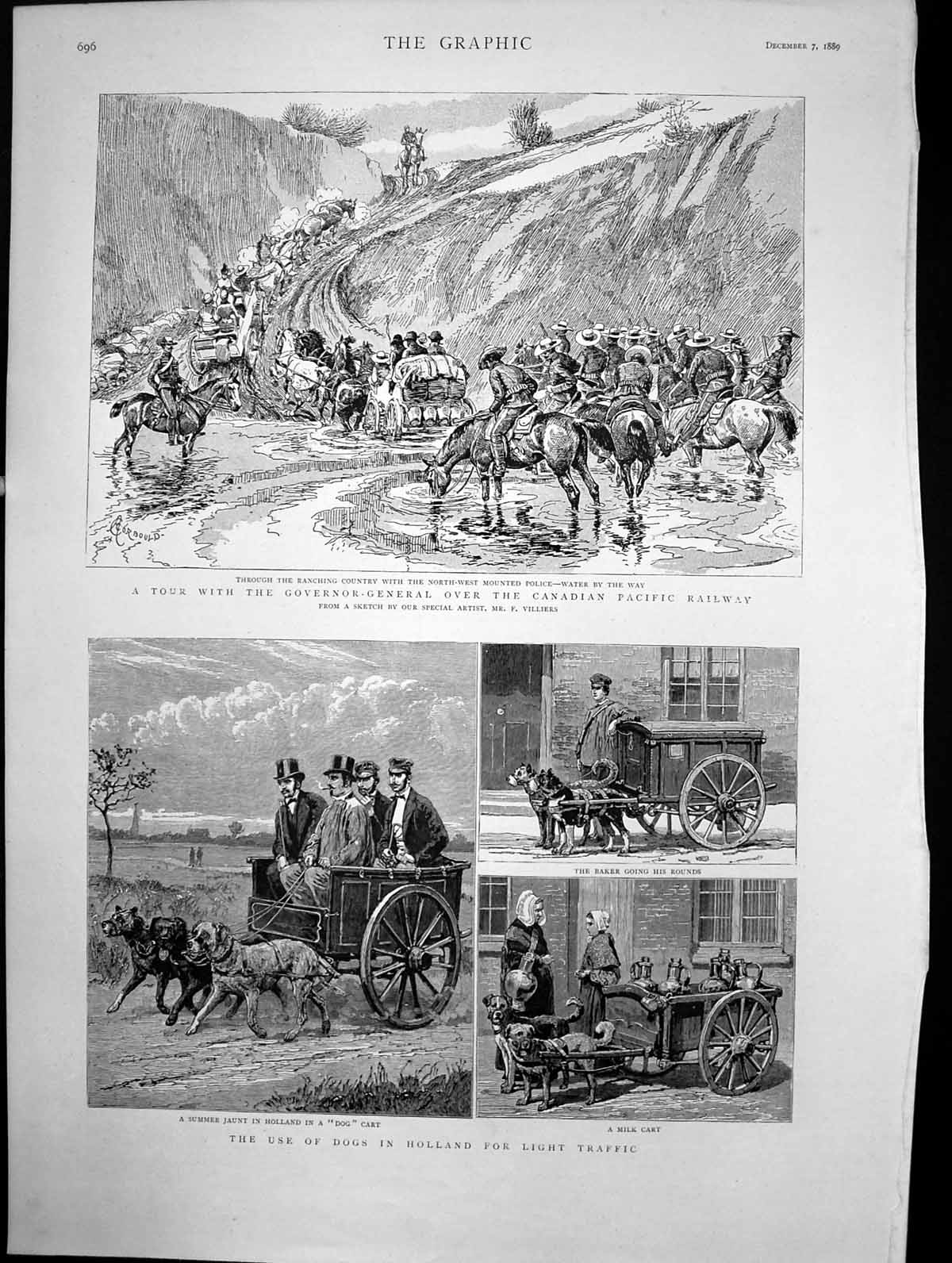 [Print Tour Governor-General Canada Use Dogs Holland Traffic 1889 593J697 Old Original]