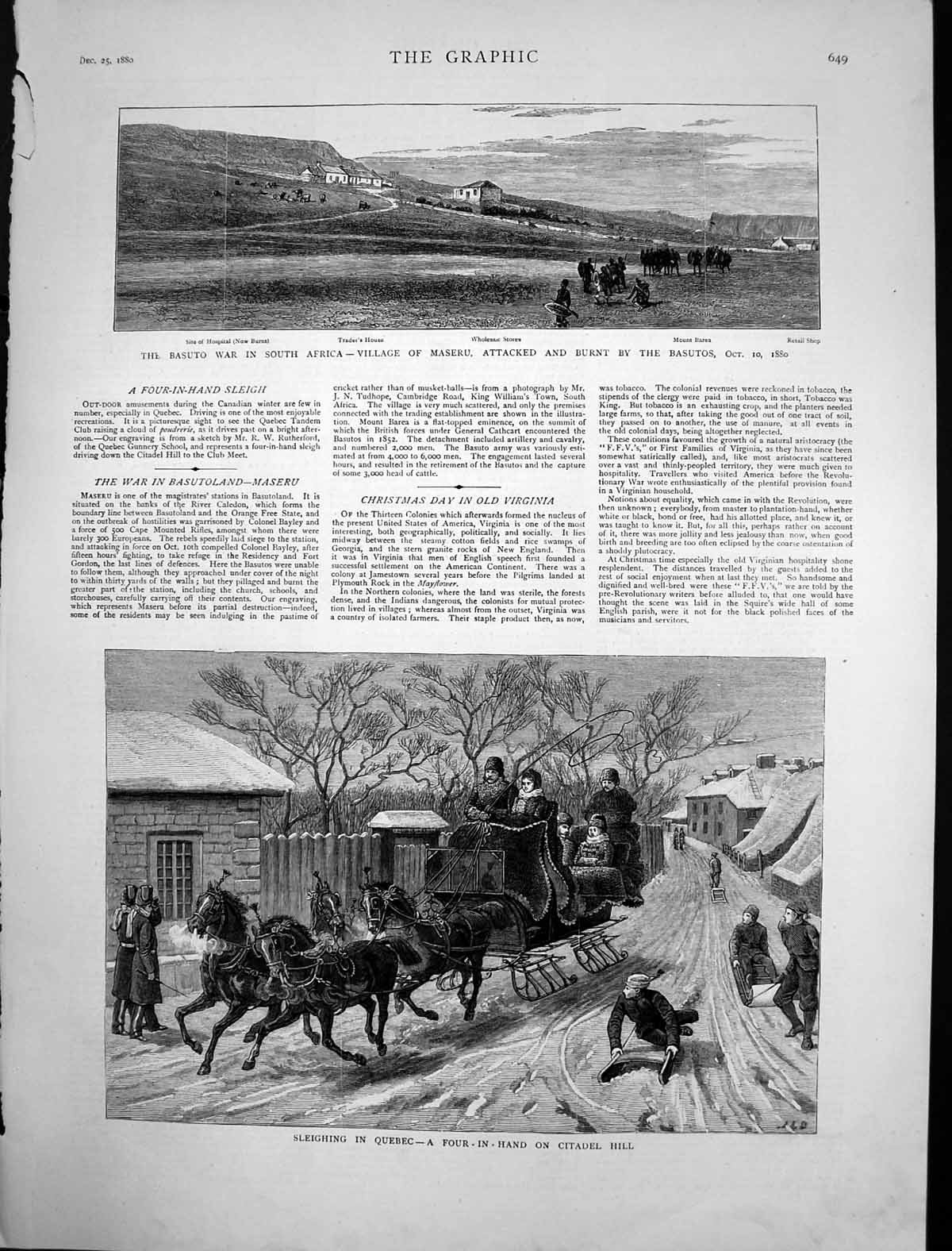 [Print Maseru Basuto War South Africa Sleighing Quebec 1880 731J698 Old Original]