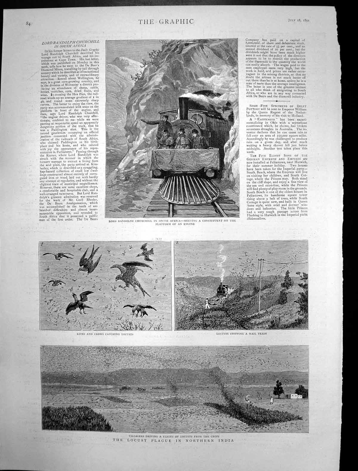 [Print Locust Plague India Randolph Churchill South Africa 1891 844J698 Old Original]