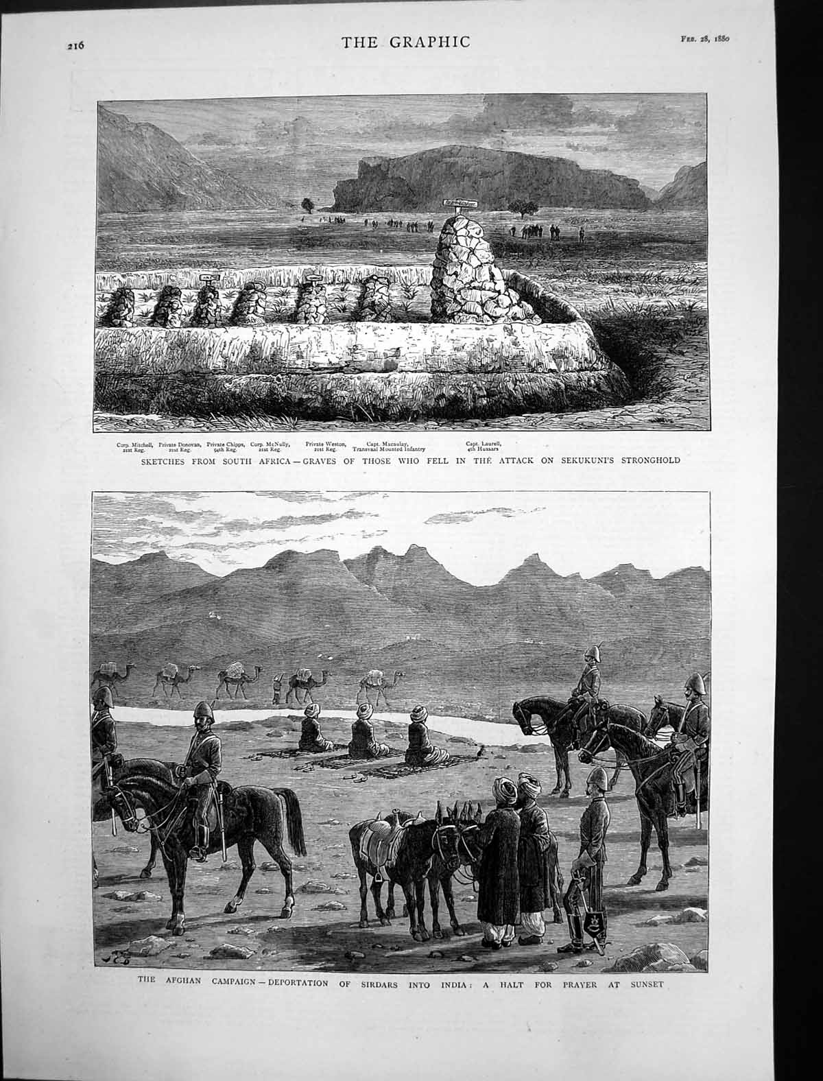 [Print Deportation Sirdars India South Africa Graves 1880 900J698 Old Original]