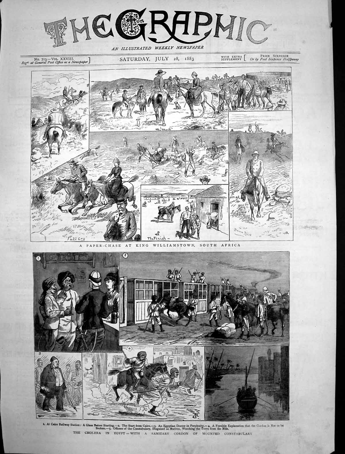 [Print Paper Chase King Williamstown South Africa Cholera Egypt 1883 928J698 Old Original]