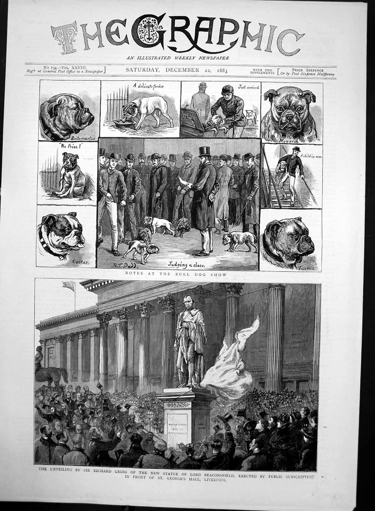 [Print Bull Dog Show Unveiling Statue Lord Beaconsfield 1883 221J699 Old Original]
