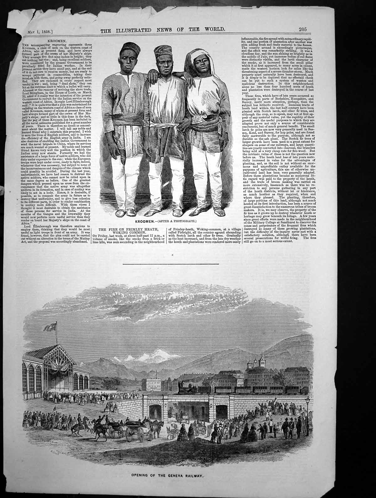 [Print Kroomen Men West Africa Opening Geneva Railway 1858 533J700 Old Original]