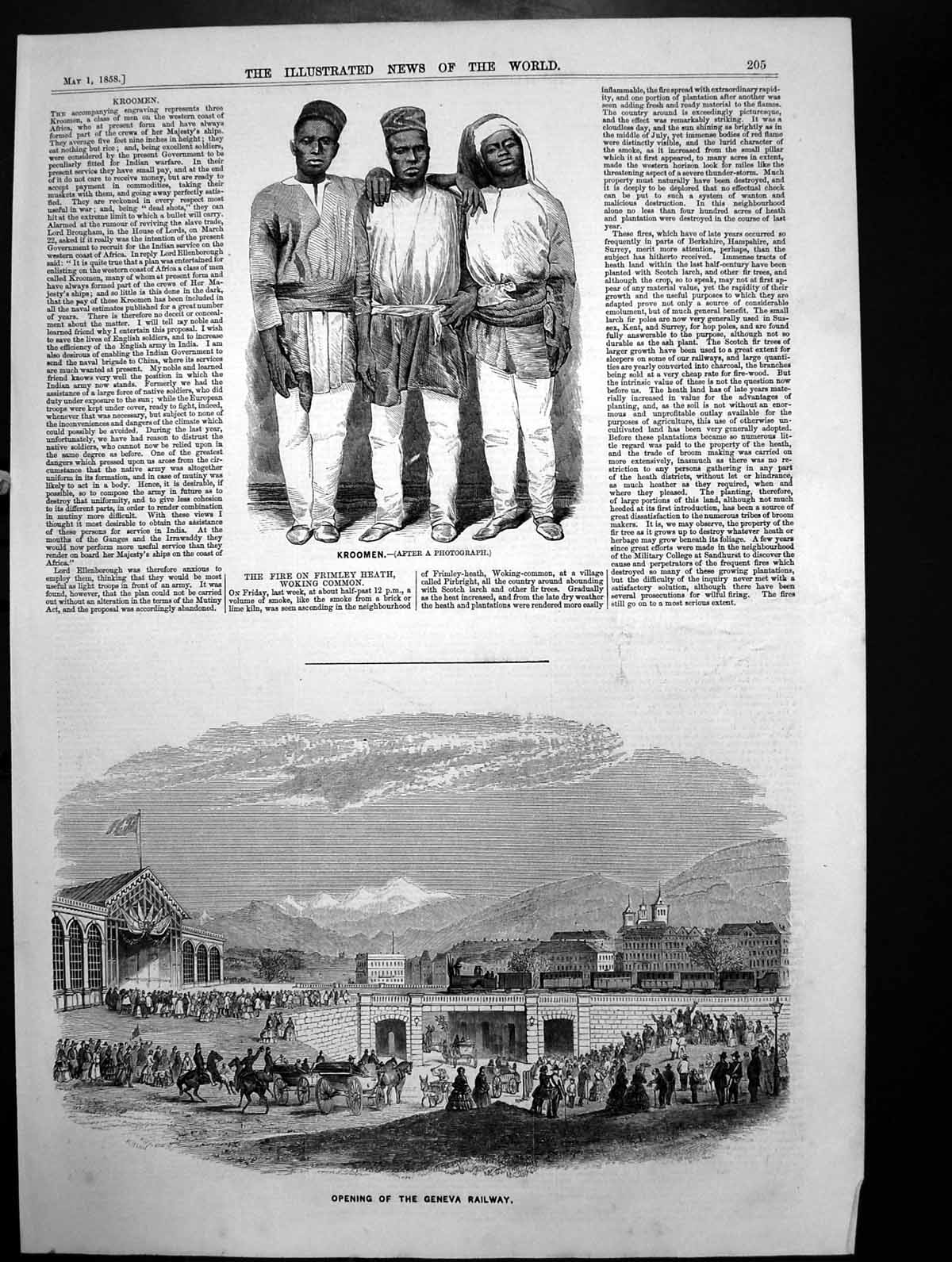[Print Crowds Opening Geneva Railway Kroomen West Africa Crews Ships1858 560J700 Old Original]
