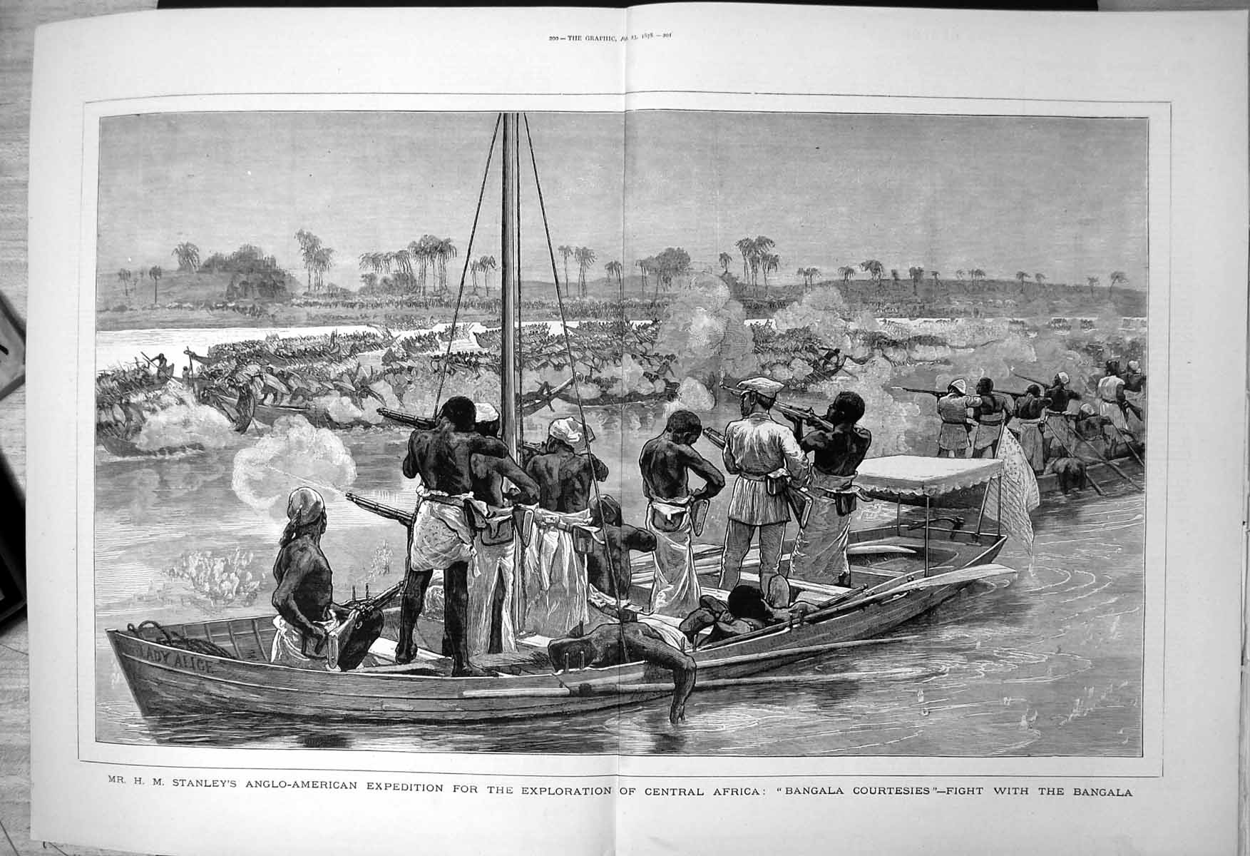[Print Stanleys Expedition Exploration Africa Fight Bangala Courtesies 1878 780J707 Old Original]
