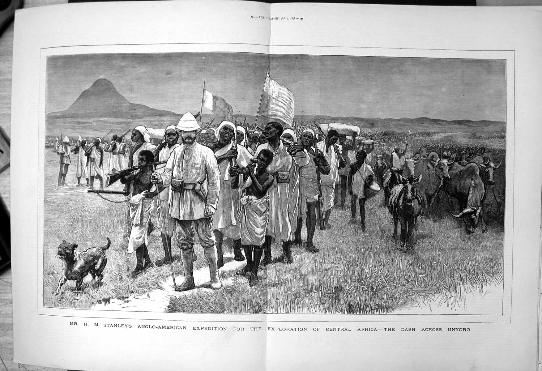 [Print Stanleys Expedition Exploration Africa Dash Across Unyoro 1878 785J707 Old Original]