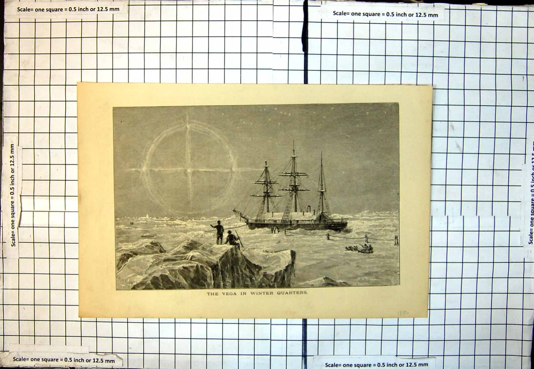[Print Vega Winter Quarters Whymper Ww May Ice Bound Ship Dog Sled 359J7111892 Old Original]
