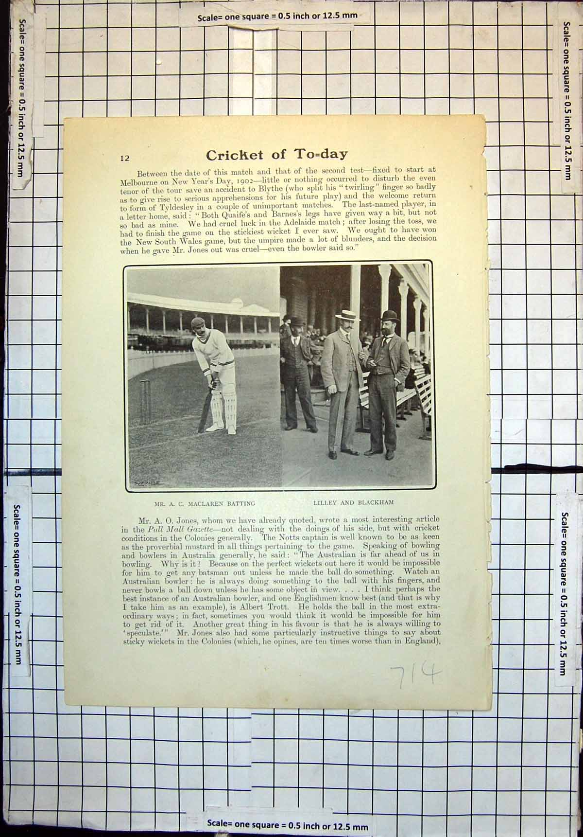 [Print Cricket A Maclaren Batting Lilley Blackham Nurses South Africa 714J712 Old Original]