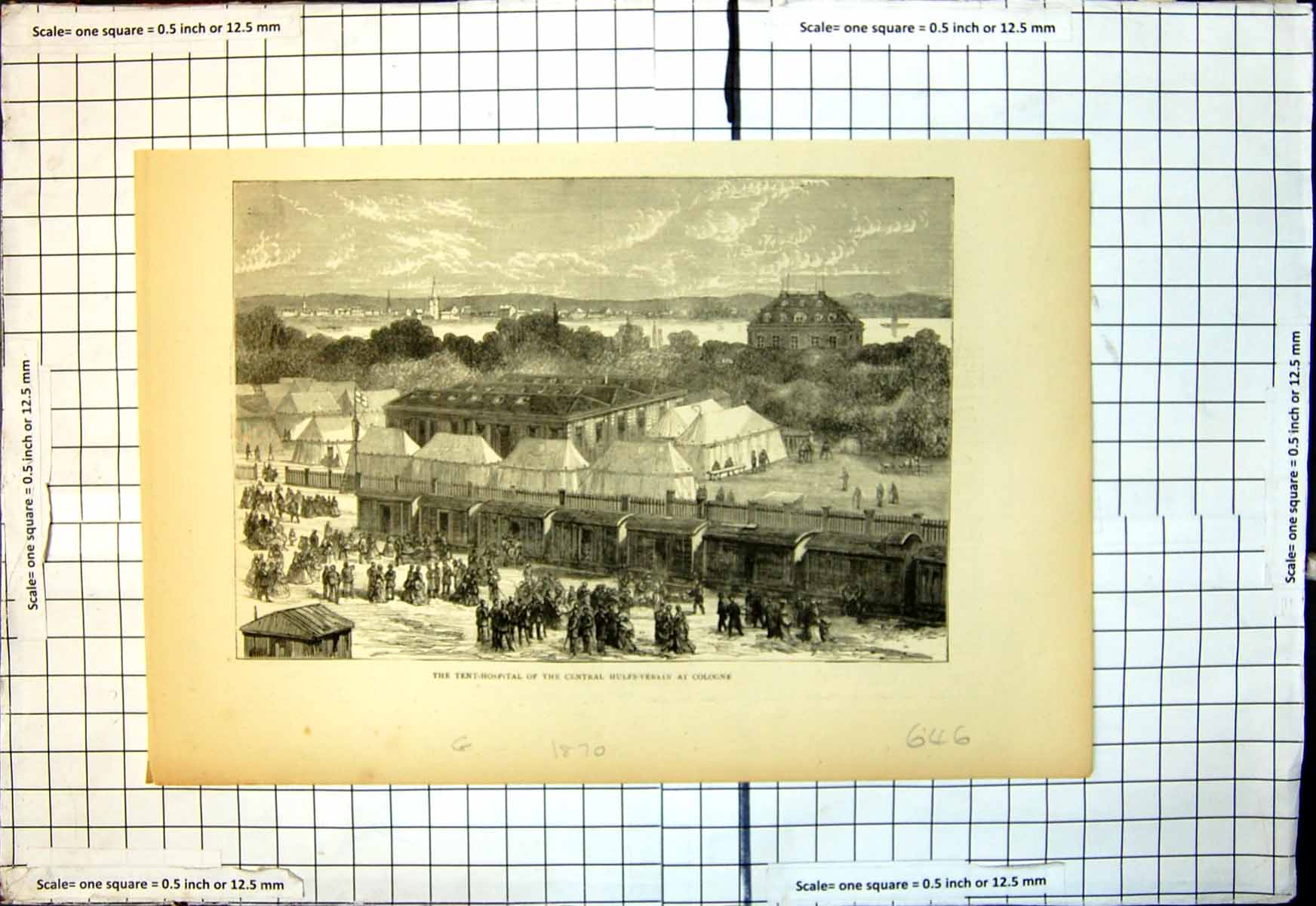 [Print Tent Hospital Central Hulfs Verein Cologne 1870 646J713 Old Original]