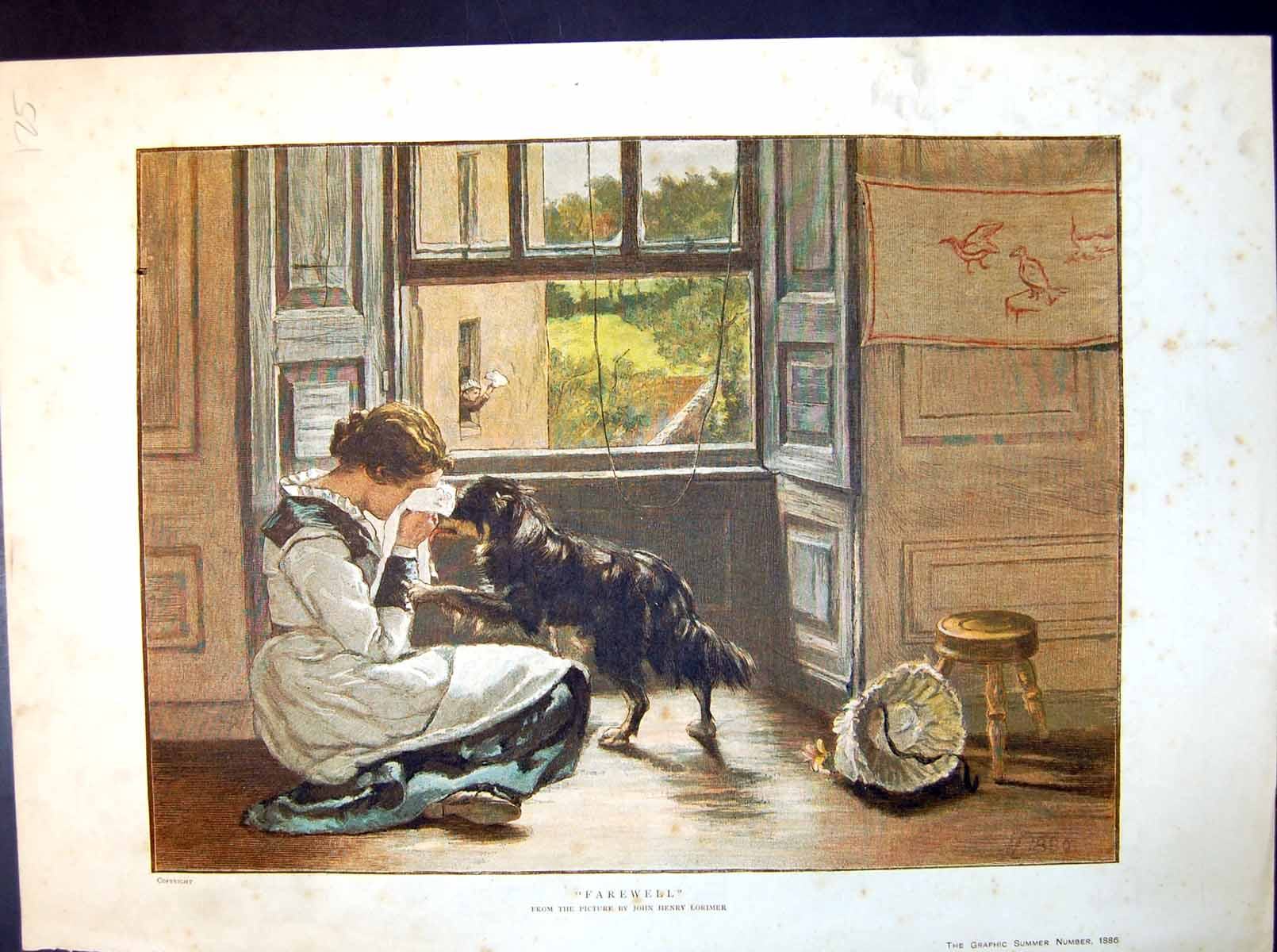 [Print Farewell Picture Jh Lorimer Maiden Crying Dog Comforting 1886 125J714 Old Original]