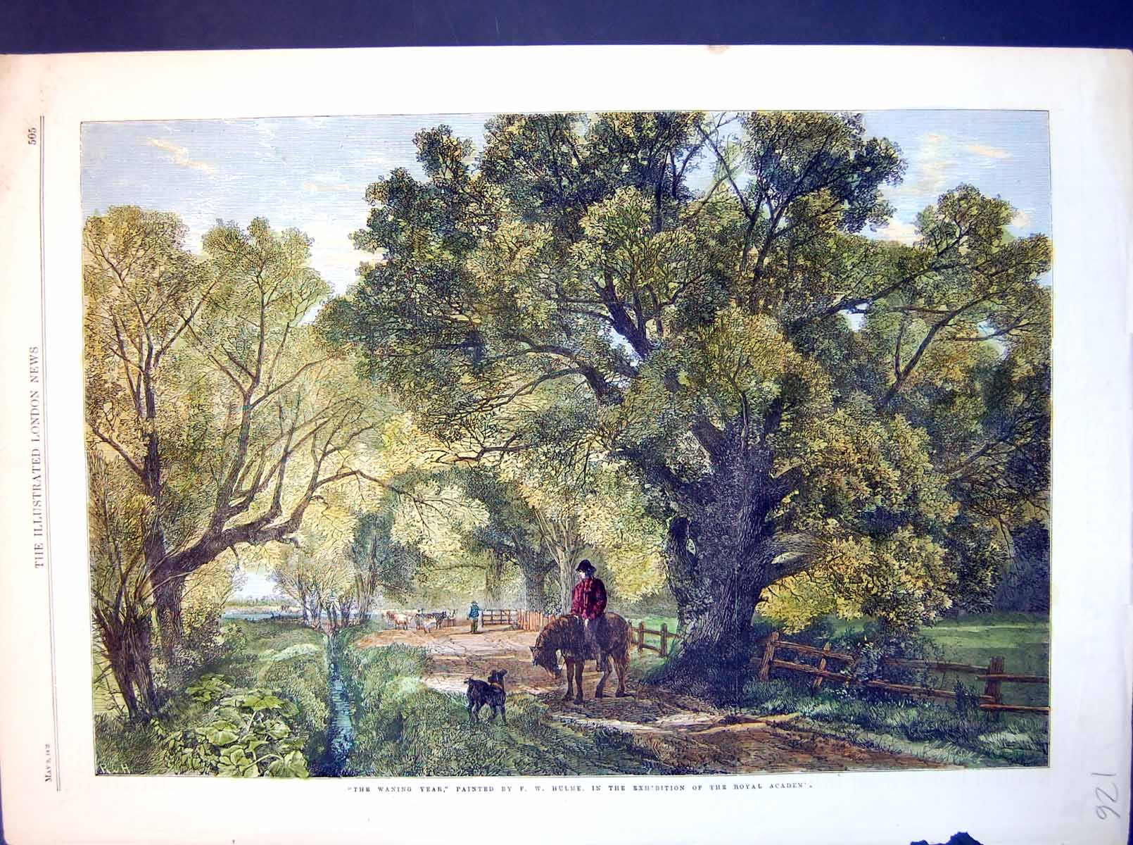 [Print The Waning Year Fw Hulme Horse Dog Cattle Trees 1863 126J714 Old Original]