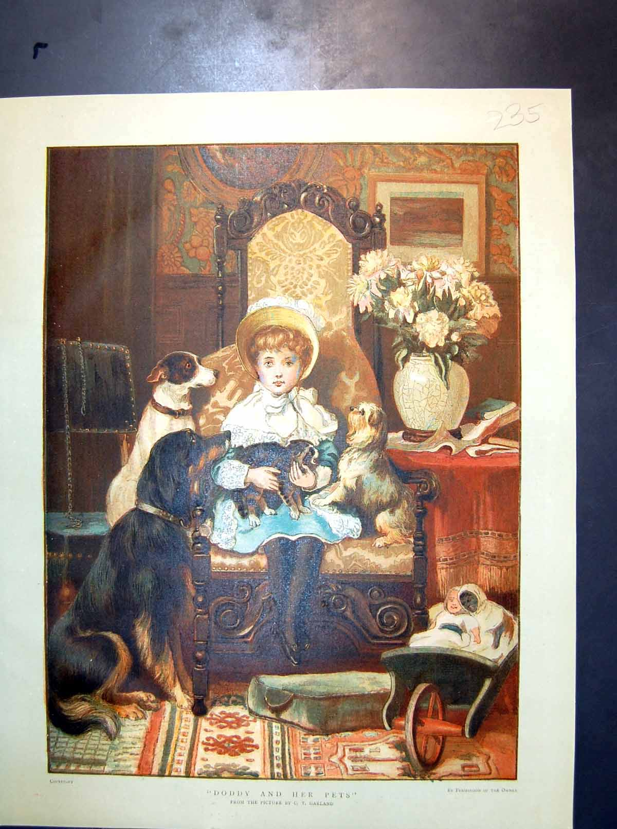 [Print Doddy And Her Pets Ct Garland Little Girl Seated Dogs Cat 235J714 Old Original]