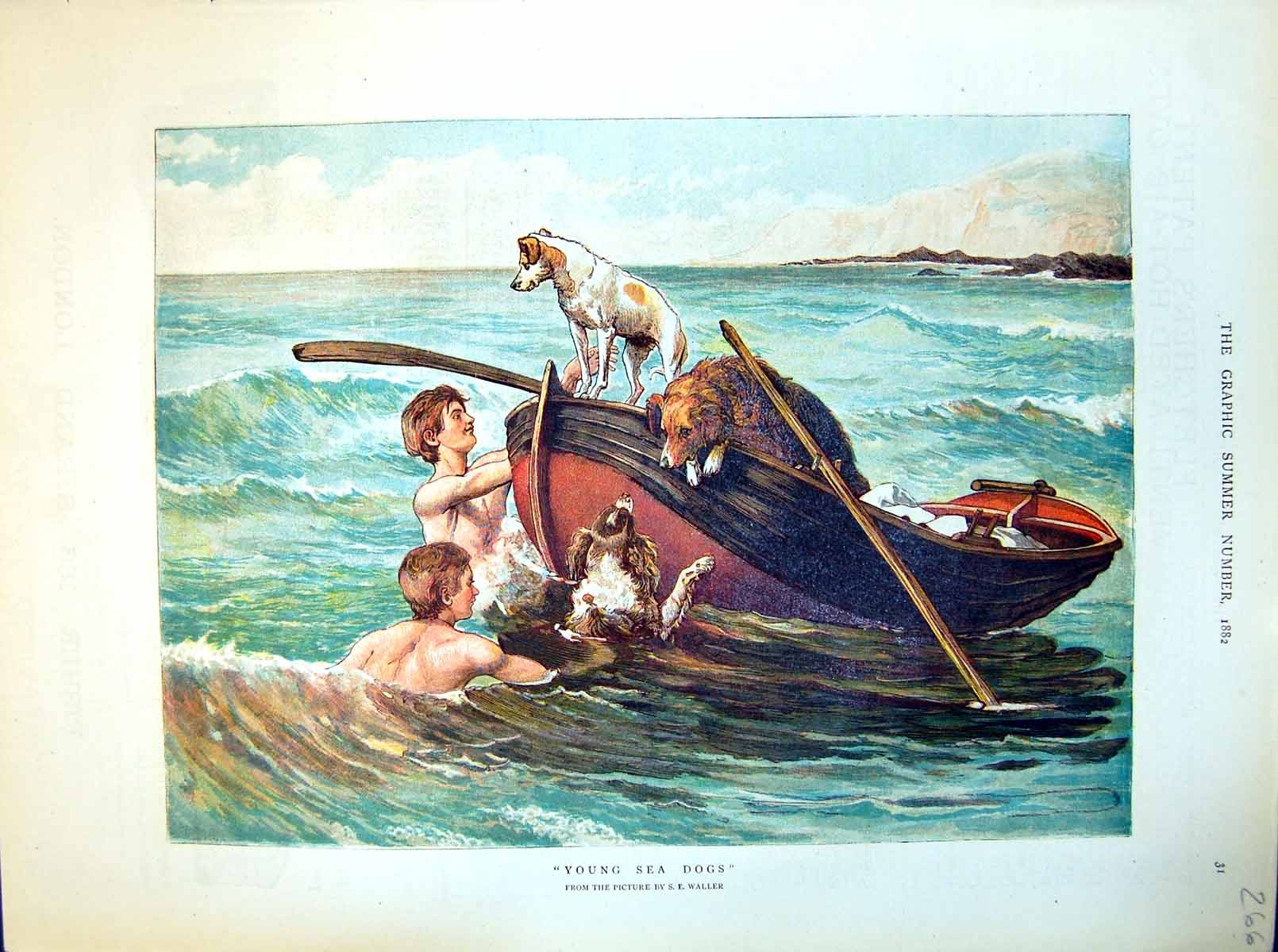 [Print Young Sea Dogs Lads Swimming Waves Dogs Boat Water 1882 266J714 Old Original]
