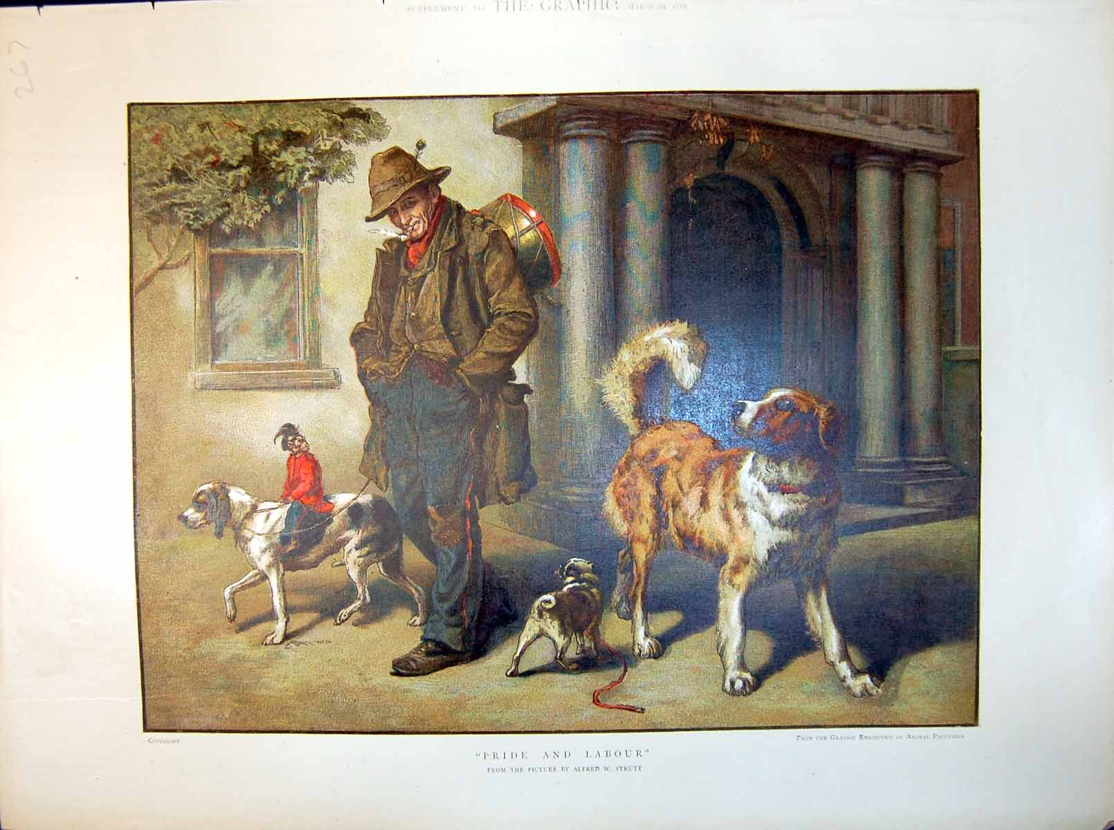 [Print Alfred W Strutt Pride And Labour Man Pipe Drum Dogs Monkey 1886 267J714 Old Original]
