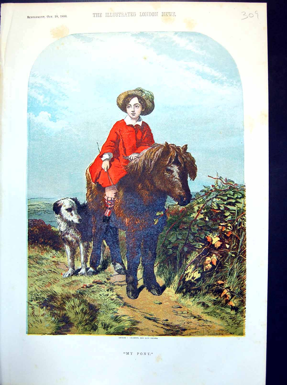 [Print My Pony Small Lad Astride With Dog Alongside 1856 309J714 Old Original]