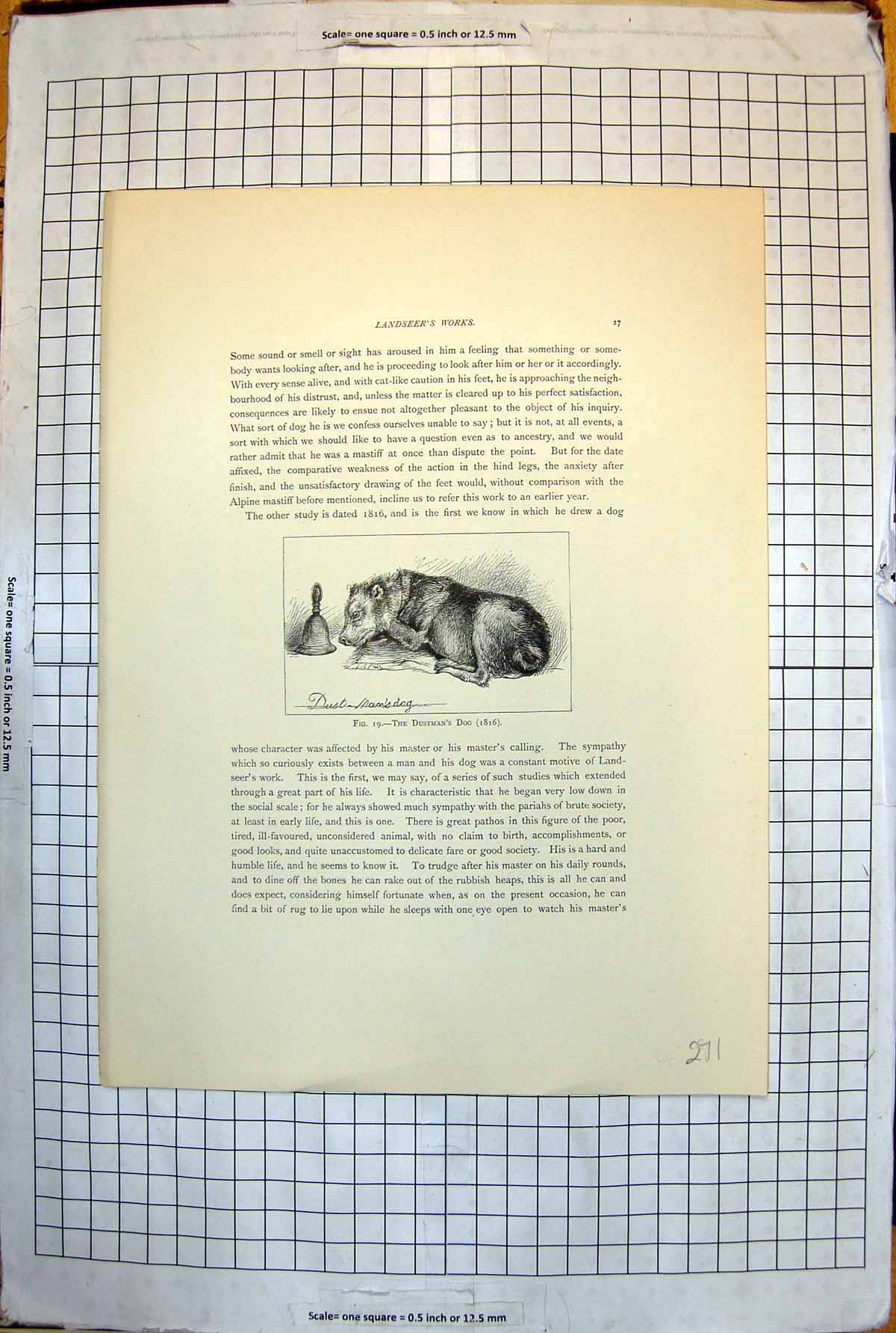 [Print The Dustman'S Dog From Landseer Work 1816 Bell Resting Tail 271J7161897 Old Original]