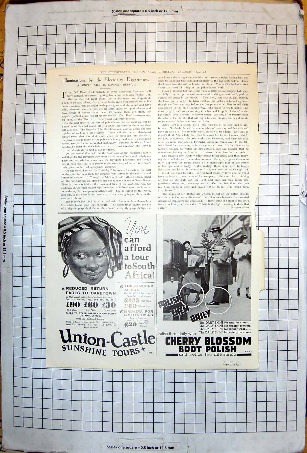 [Print Adverts Tour South Africa Union Castle Cherry Blossom Polish 1935 456J717 Old Original]