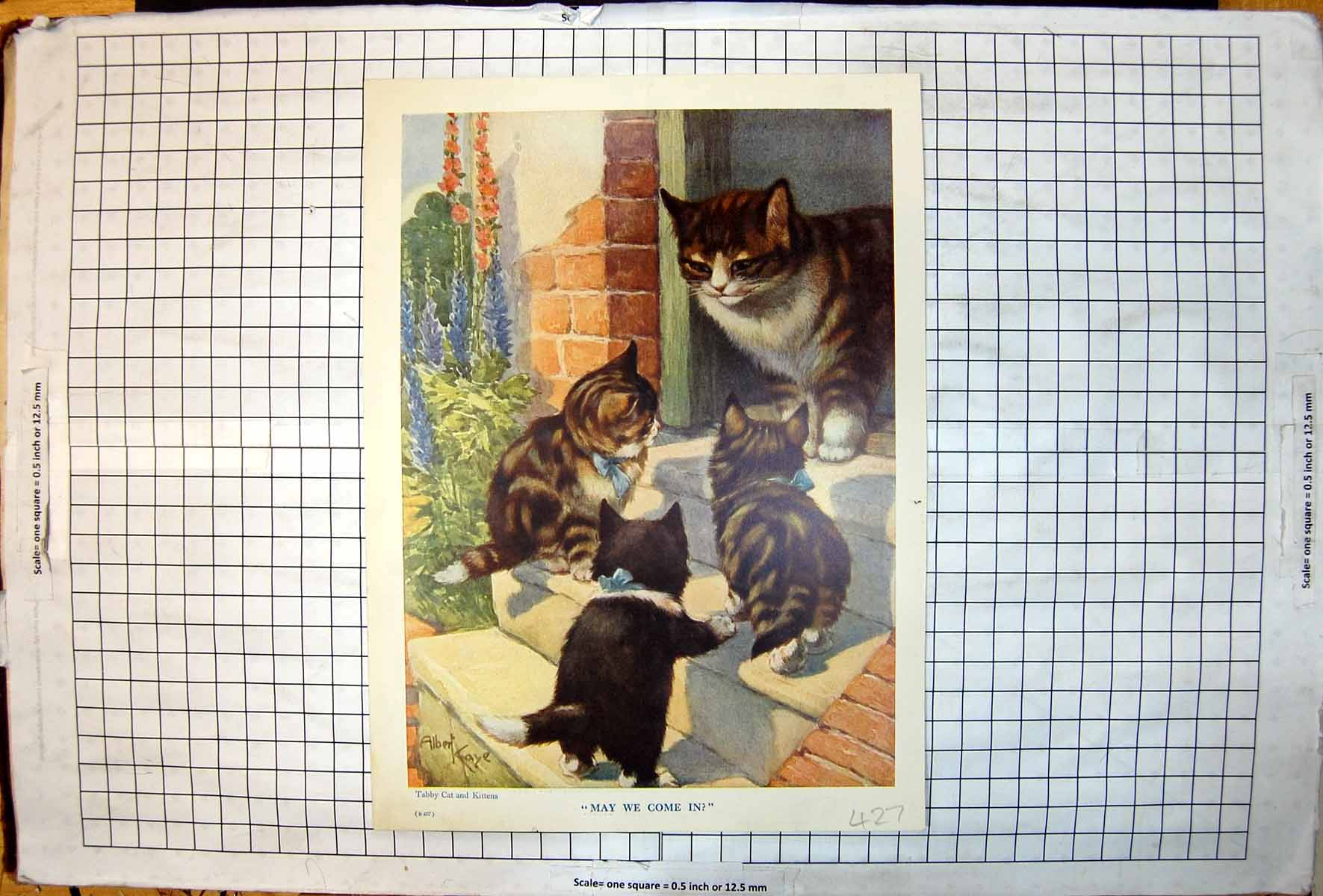 [Print May We Come In Tabby Cat Kittens Pomeranian Dog Glove A Kaye 427J719 Old Original]