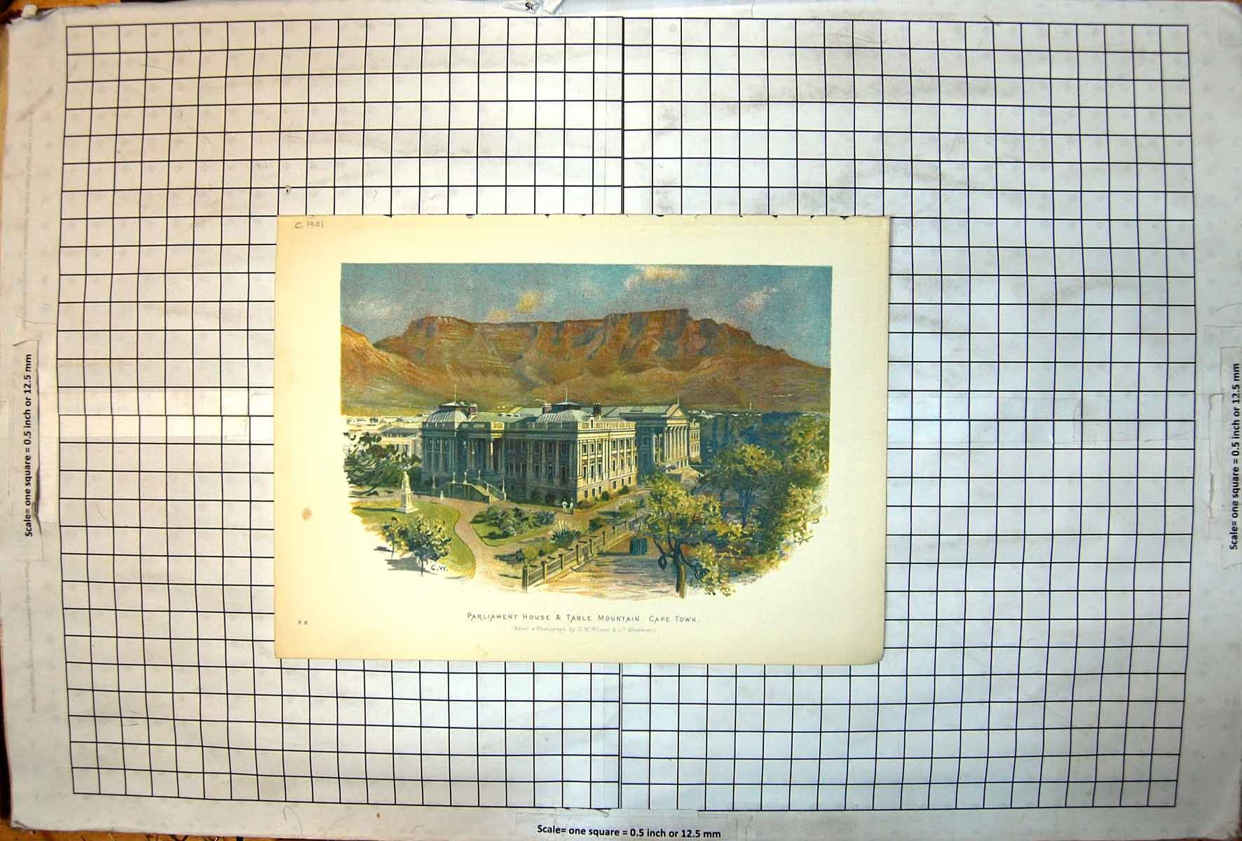 [Print Parliament House Table Mountain Cape Town South Africa Colour 113J720 Old Original]