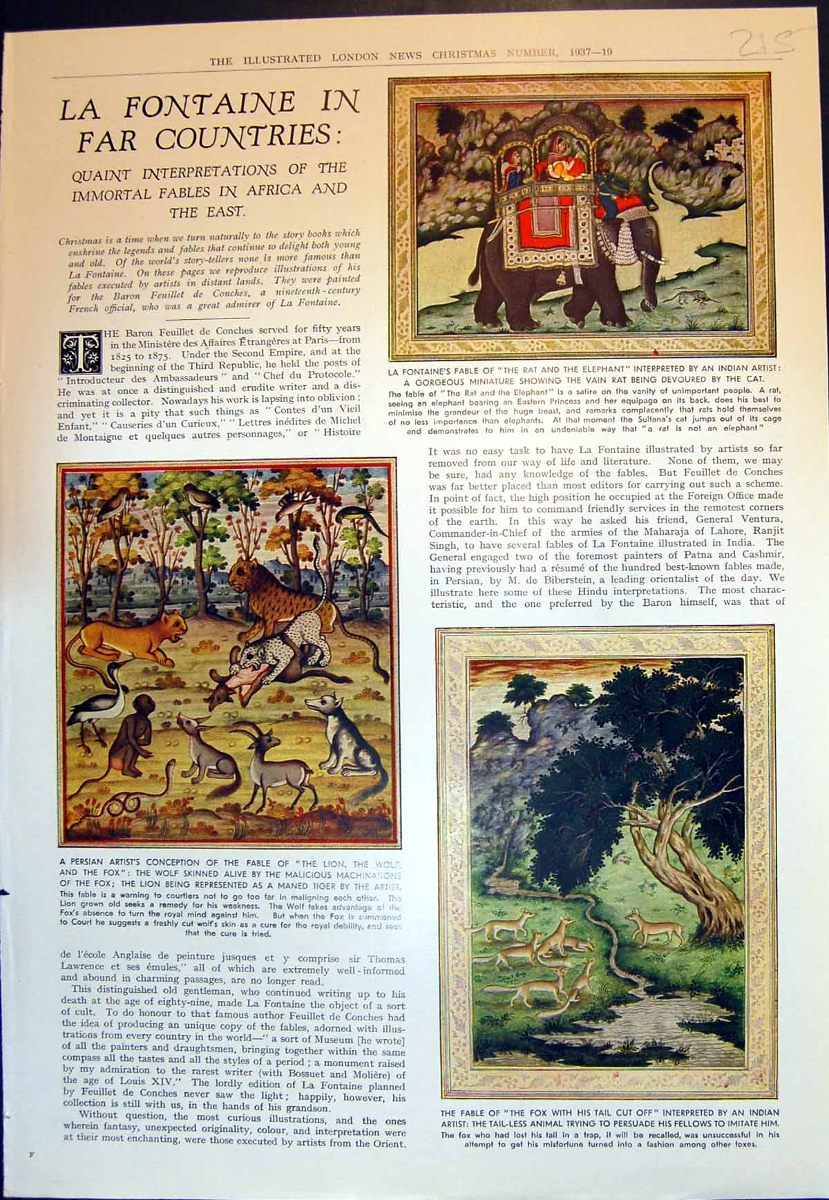 [Print Fables Africa East Rat Elephant Shepherd Lion Miller Son Ass 1937 215J721 Old Original]