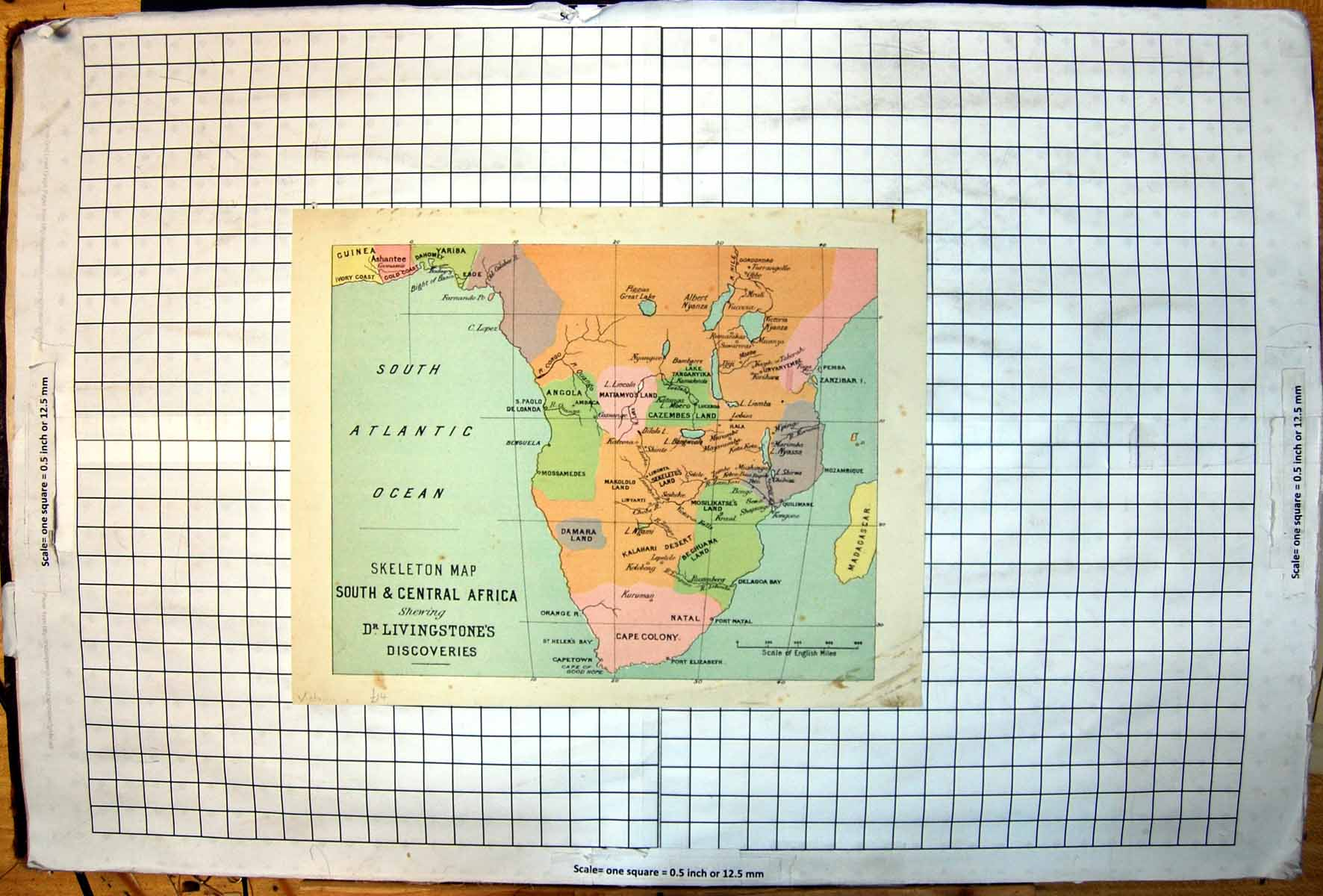 [Print South Central Africa Showing Dr Livingstone'S Discoveries Map 103J722 Old Original]