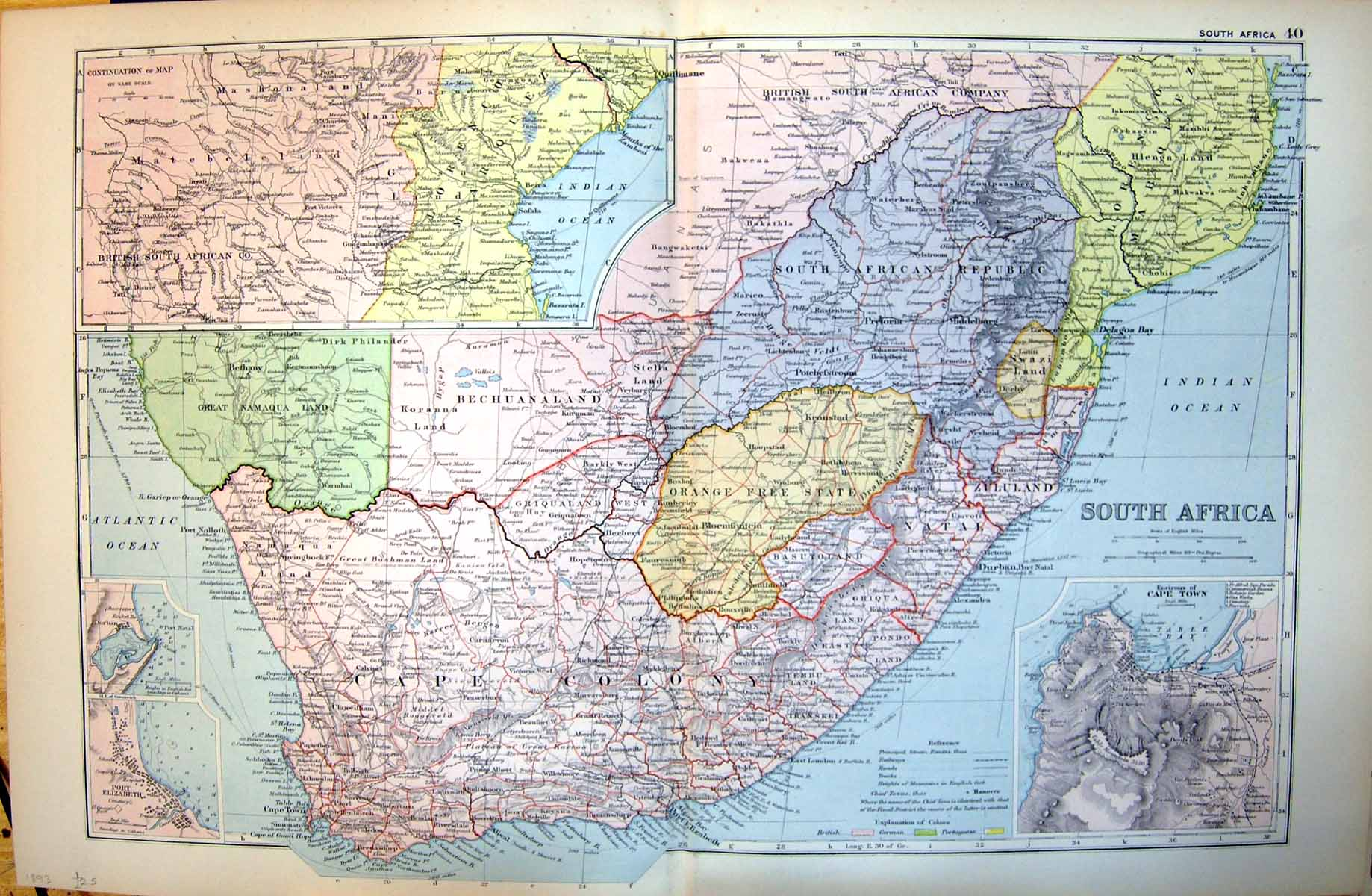 [Print South Africa Cape Colony Environs Cape Town Zululand 1893 203Tj722 Old Original]