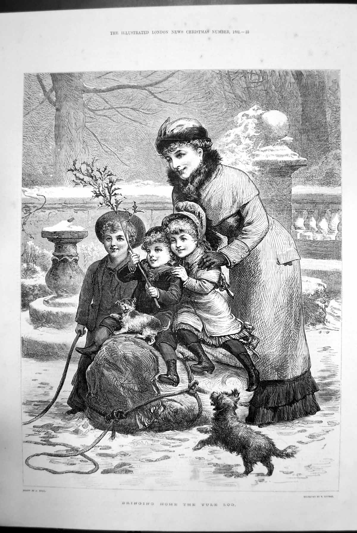[Print Bringing Home The Yule Log Dogs Children Woman Snow 1881 793J729 Old Original]