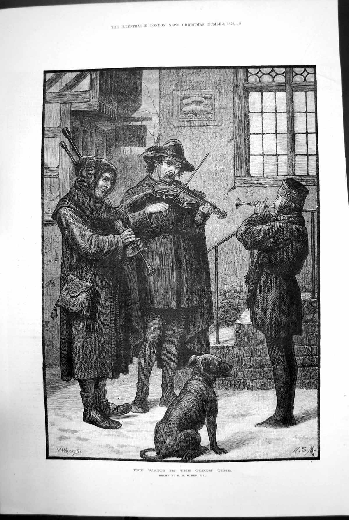 [Print The Waits In The Olden Time Violin Bagpipes Dog Hs Marks 1879 823J729 Old Original]