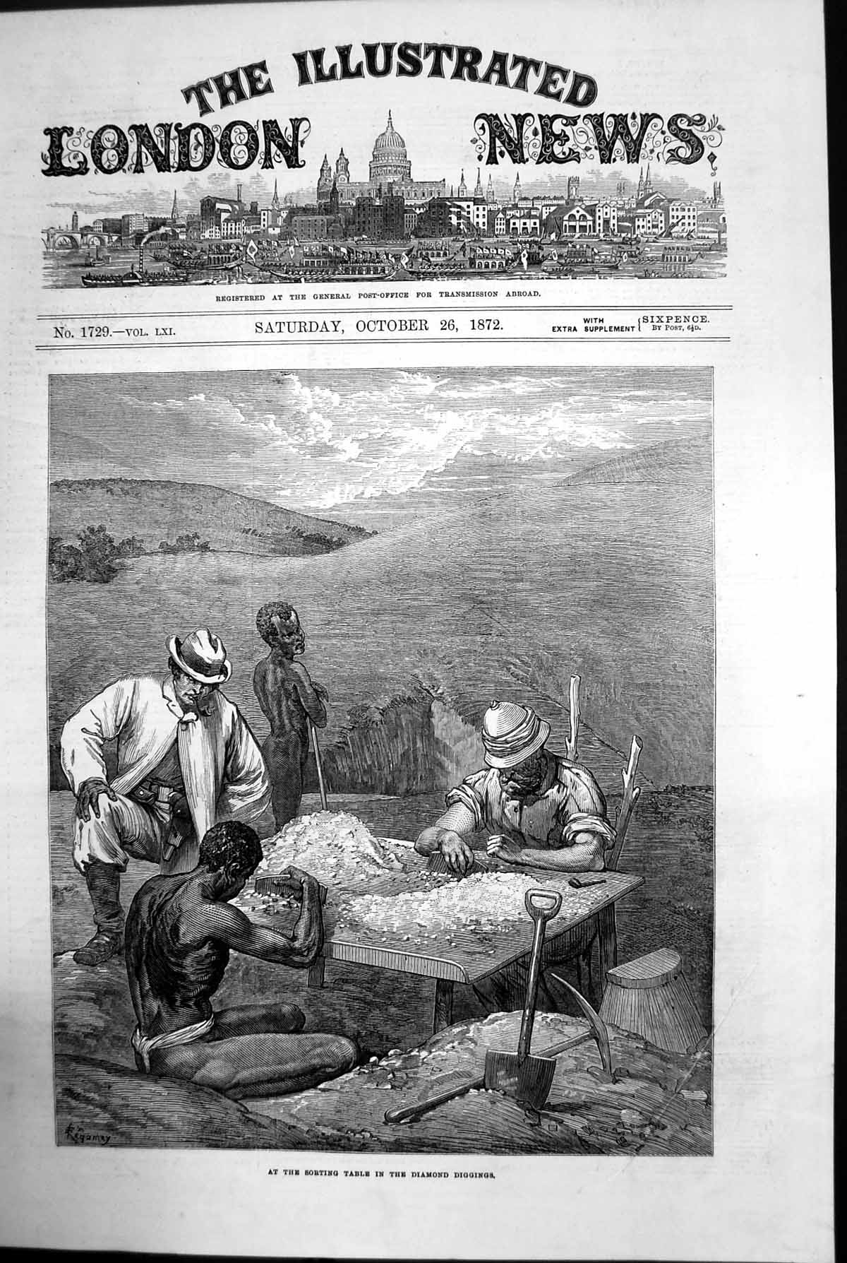 [Print At The Sorting Table In The Diamond Diggings Africa Men 1872 838J729 Old Original]