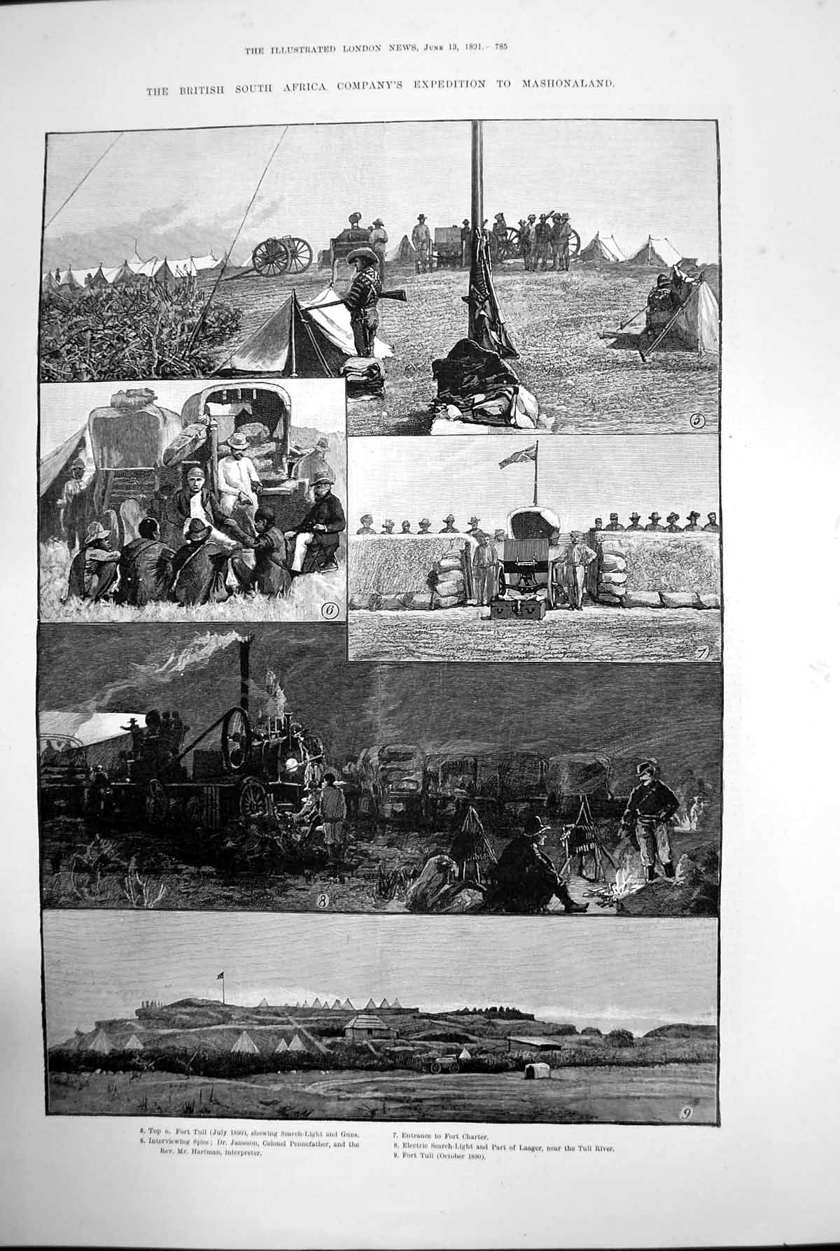 [Print British South Africa Expedition Mashonaland Fort Tuli Spies 1891 928J729 Old Original]