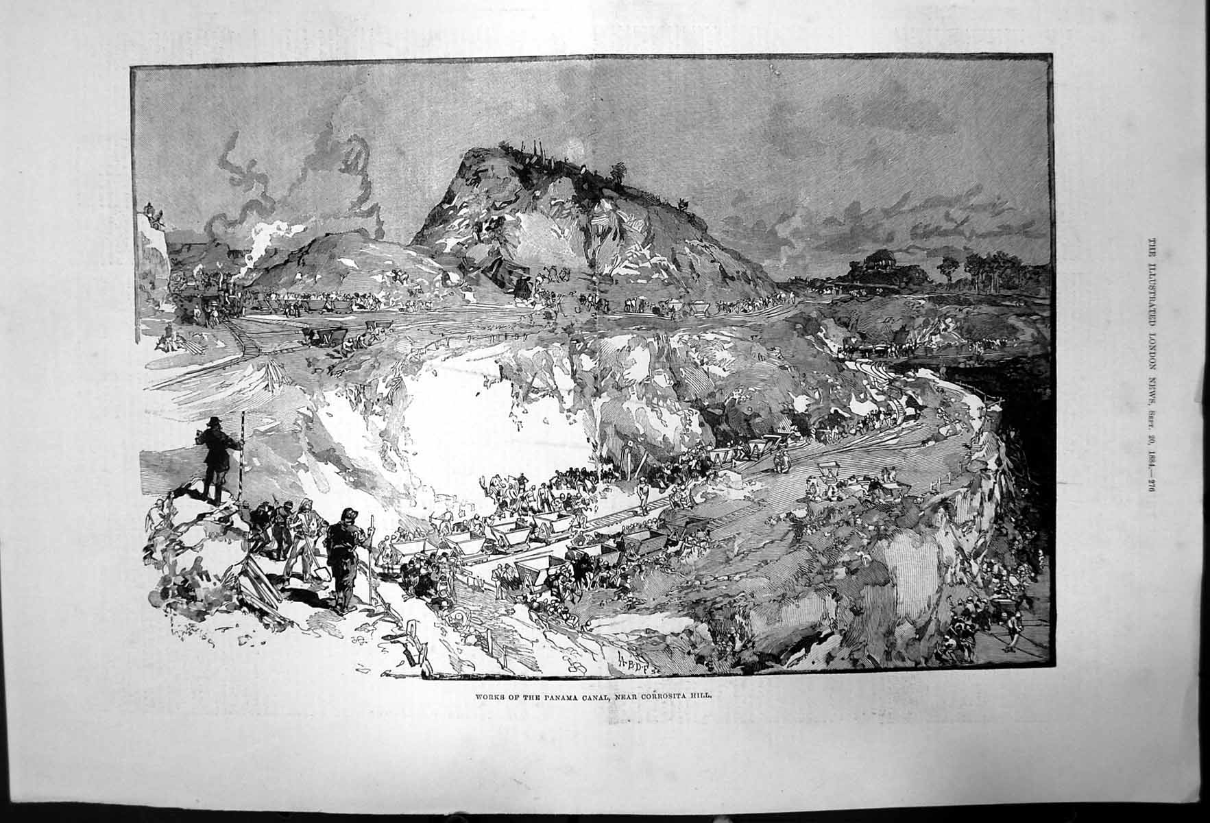 Old-Antique-Print-Works-Panama-Canal-Near-Corrosita-Hill-1884-441J731