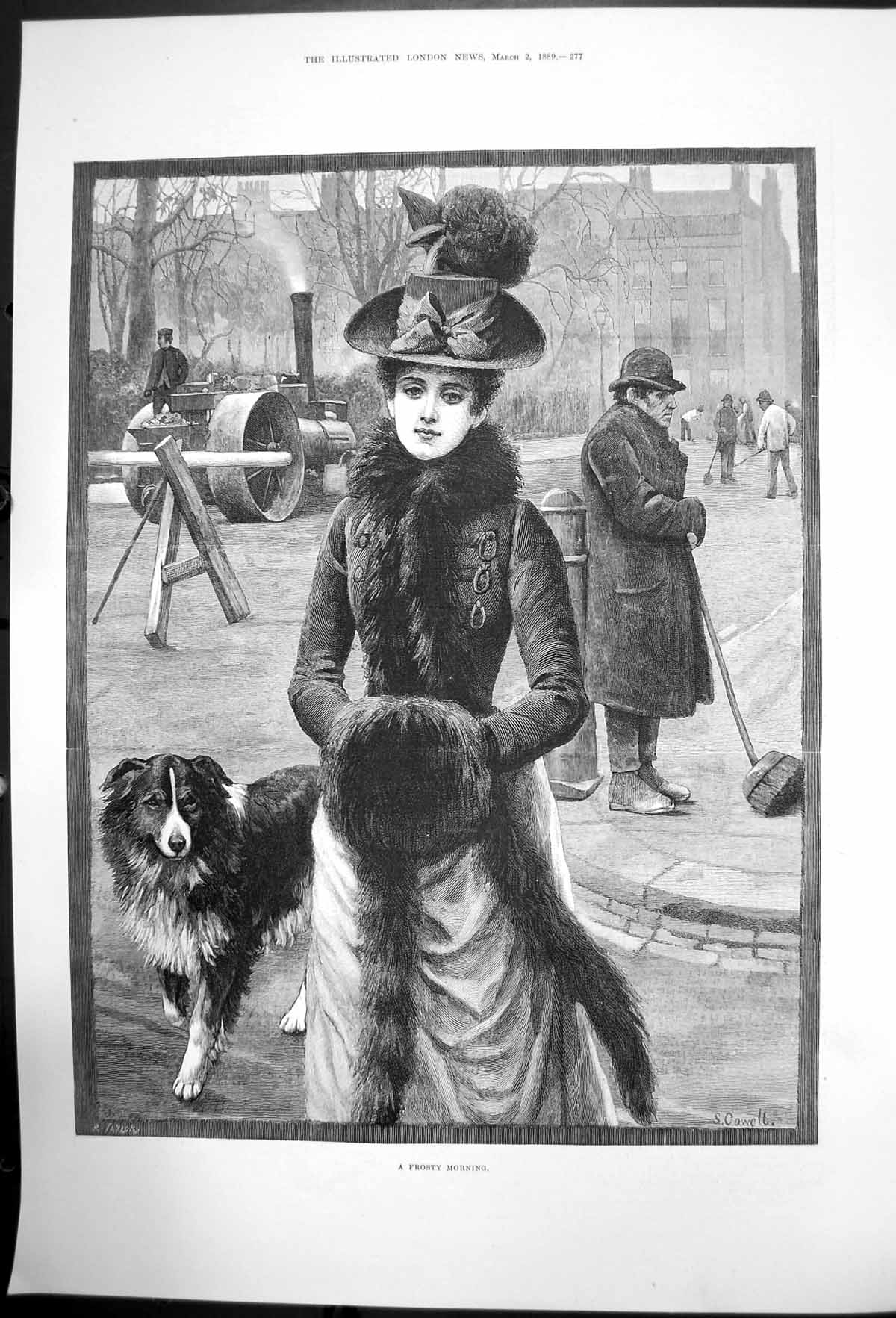 [Print A Frosty Morning S Cowell Lady Dog Fur Hat Muff 1889 568J731 Old Original]