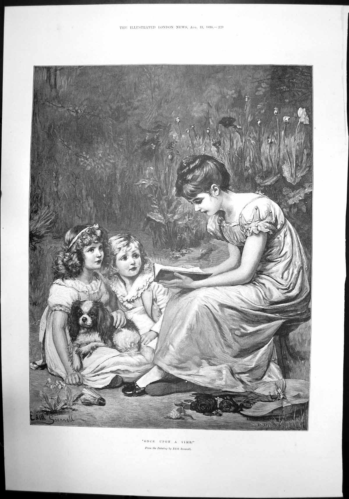 [Print Once Upon A Time Edith Scannell Children Reading Dog Garden 1898 761J732 Old Original]