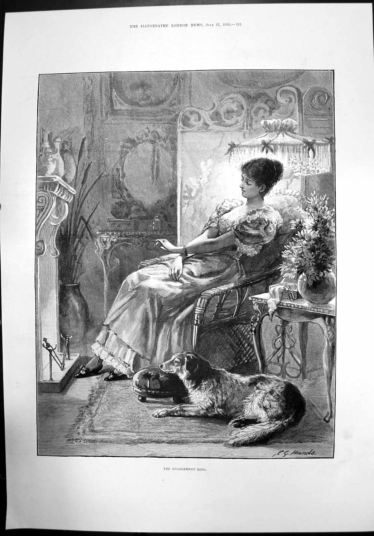 [Print The Engagement Ring Sketch Woman Dog House Fireplace 1895 807J732 Old Original]