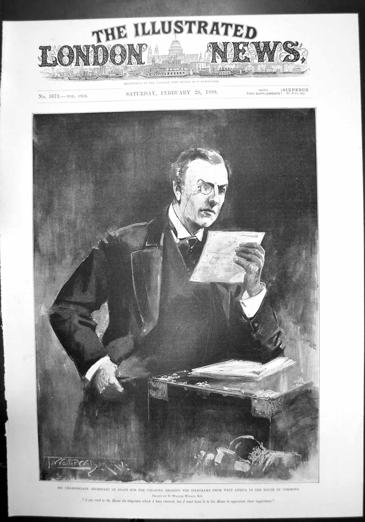 [Print Chamberlain Secretary Colonies West Africa House Commons 1898 851J732 Old Original]