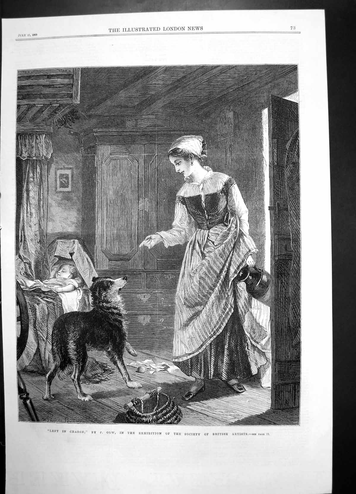 [Print Left In Charge Gow British Artists 1869 Dog Woman Child 745J735 Old Original]