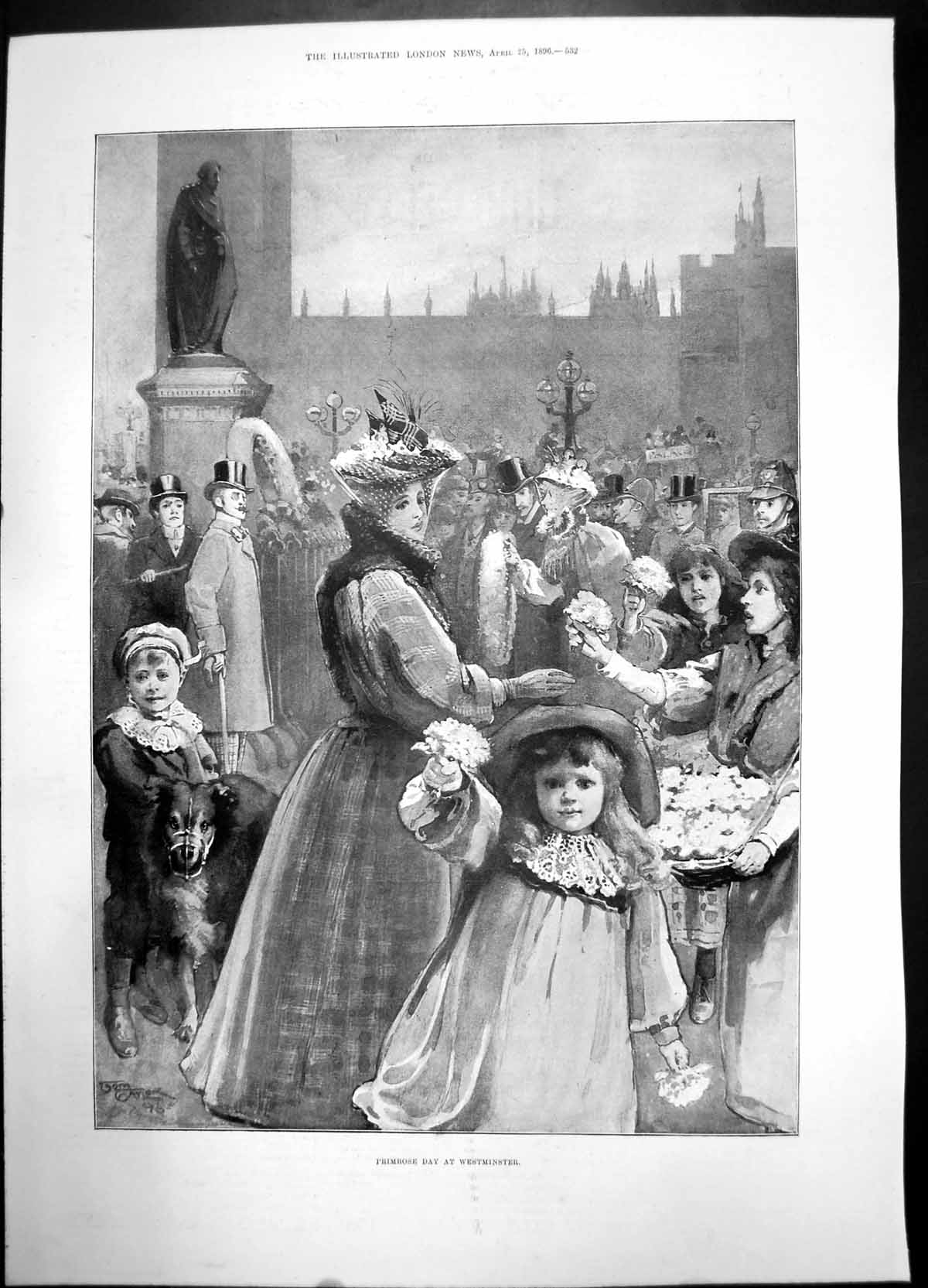 [Print Primrose Day Westminster 1896 Women Children Girl Dog Statue 794J735 Old Original]