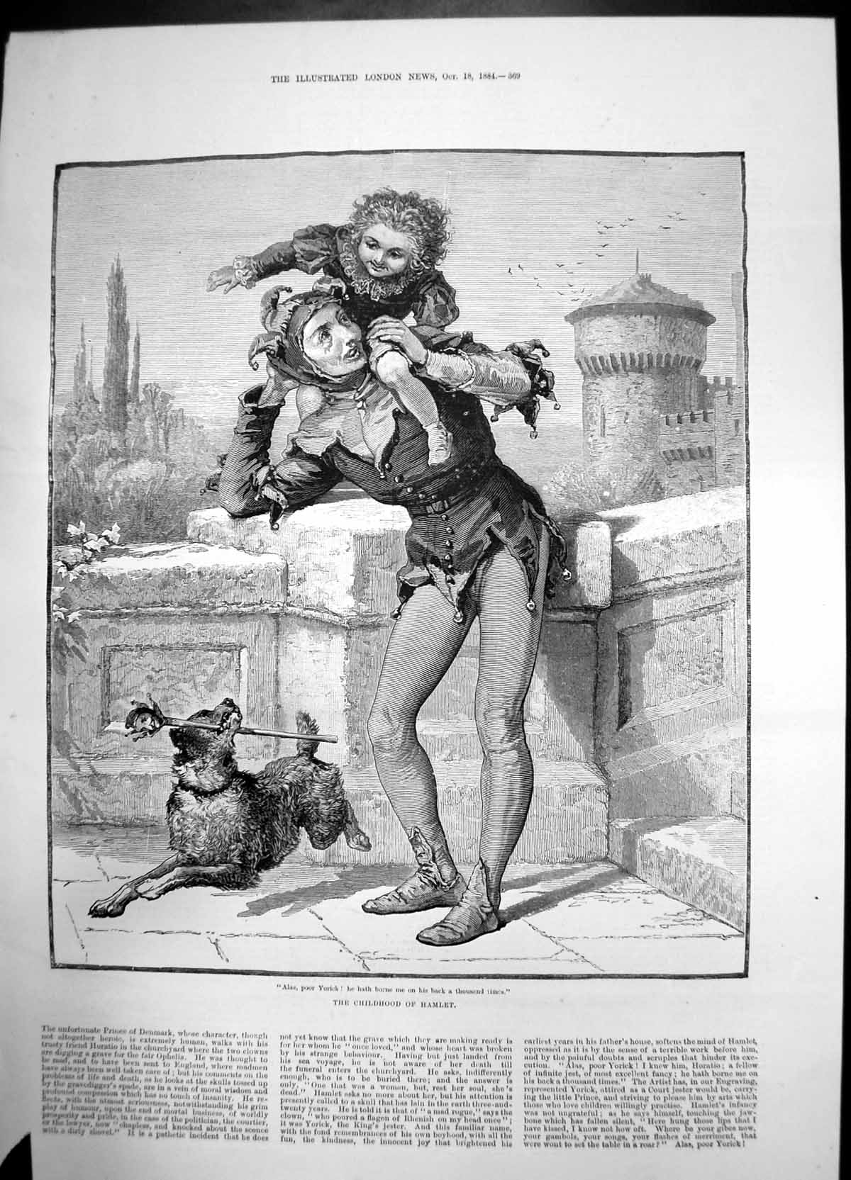 [Print Childhood Hamlet Jester Dog Child Back 1884 847J735 Old Original]