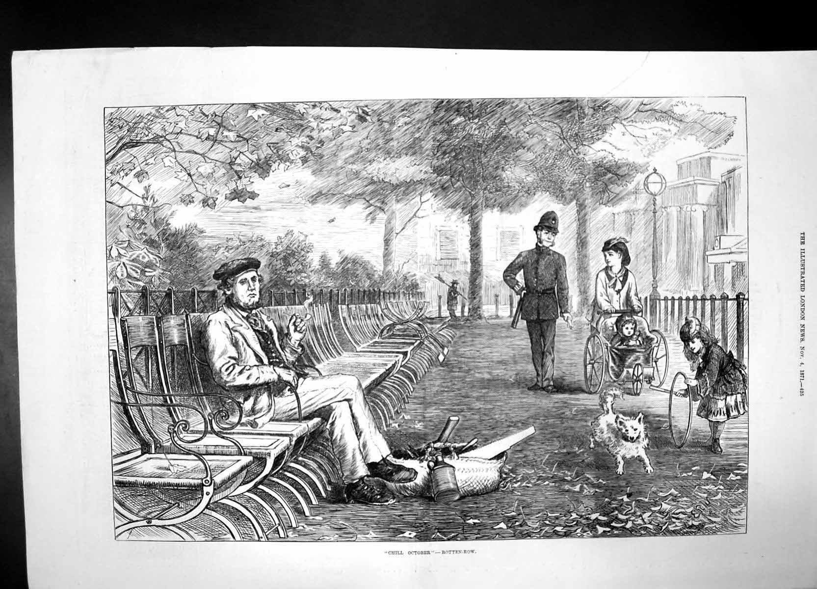 [Print Chill October Rotten Row 1871 Police Woman Baby Dog Girl Man 859J735 Old Original]
