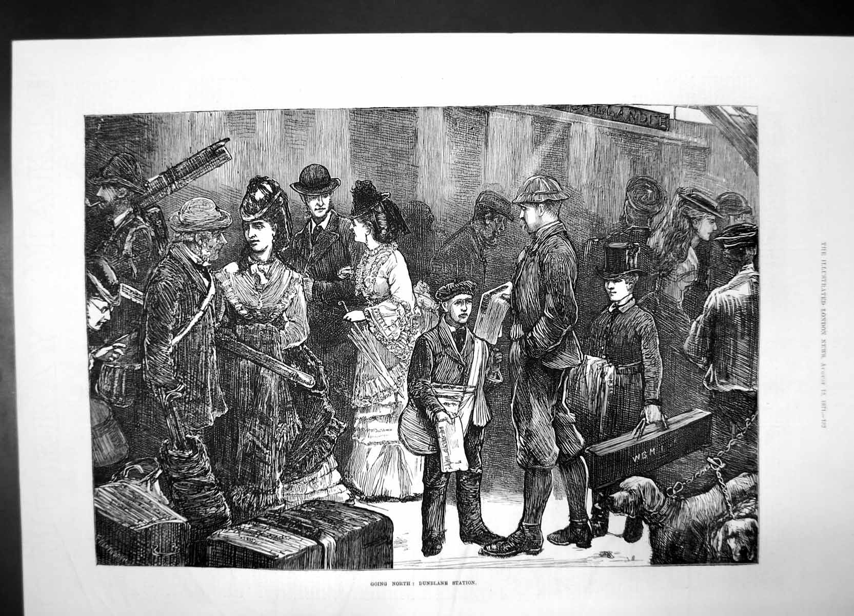[Print Going North Dunblane Station 1871 Train Women Men Children Dog 892J735 Old Original]